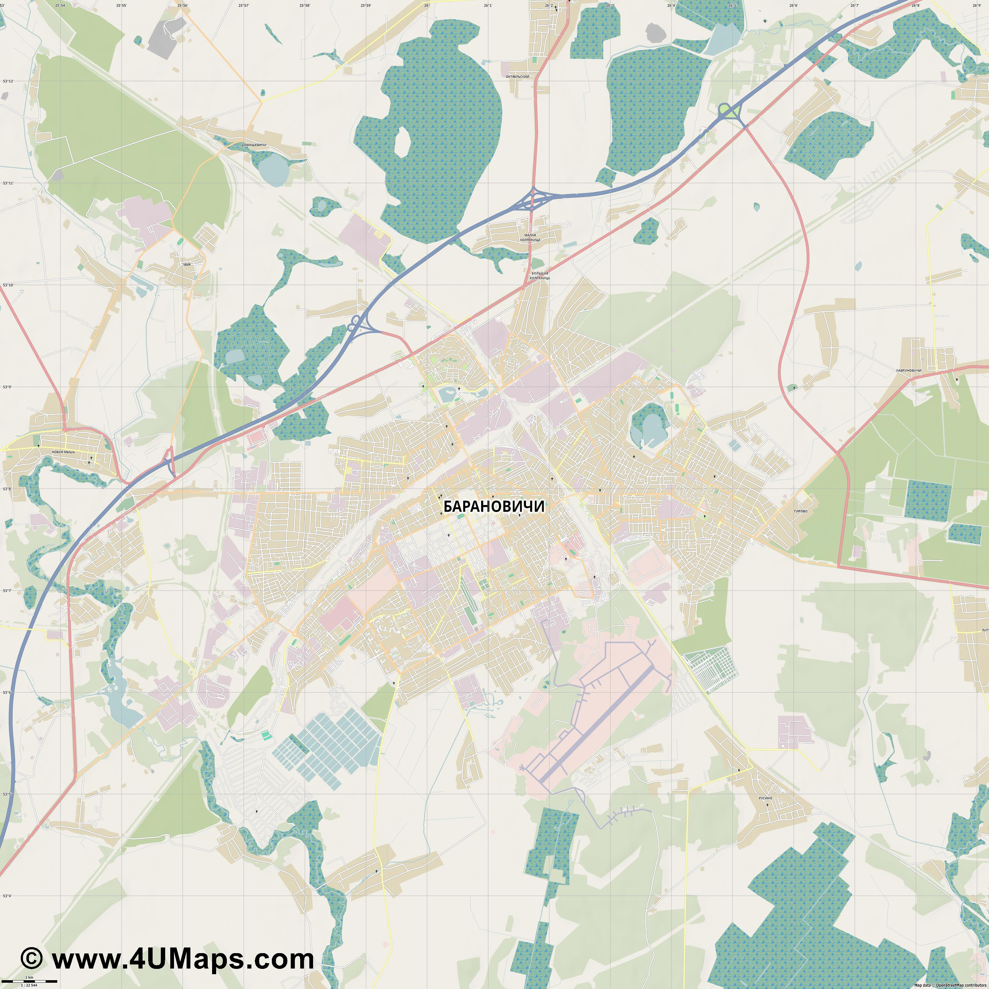 Барановичи Baranovichi Baranavitchy Baranawitschy  jpg high detail, large area preview vector city map