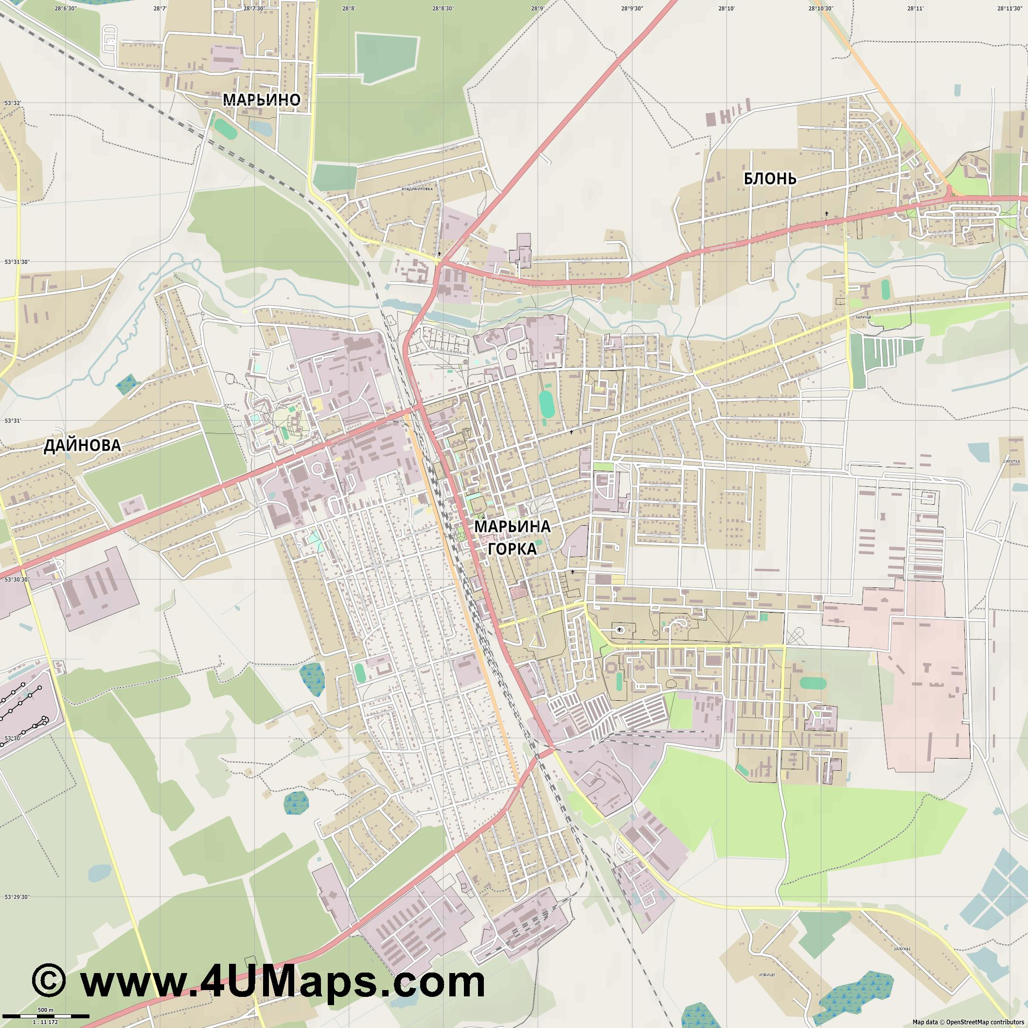 Марьина Горка Maryina Horka  jpg ultra high detail preview vector city map