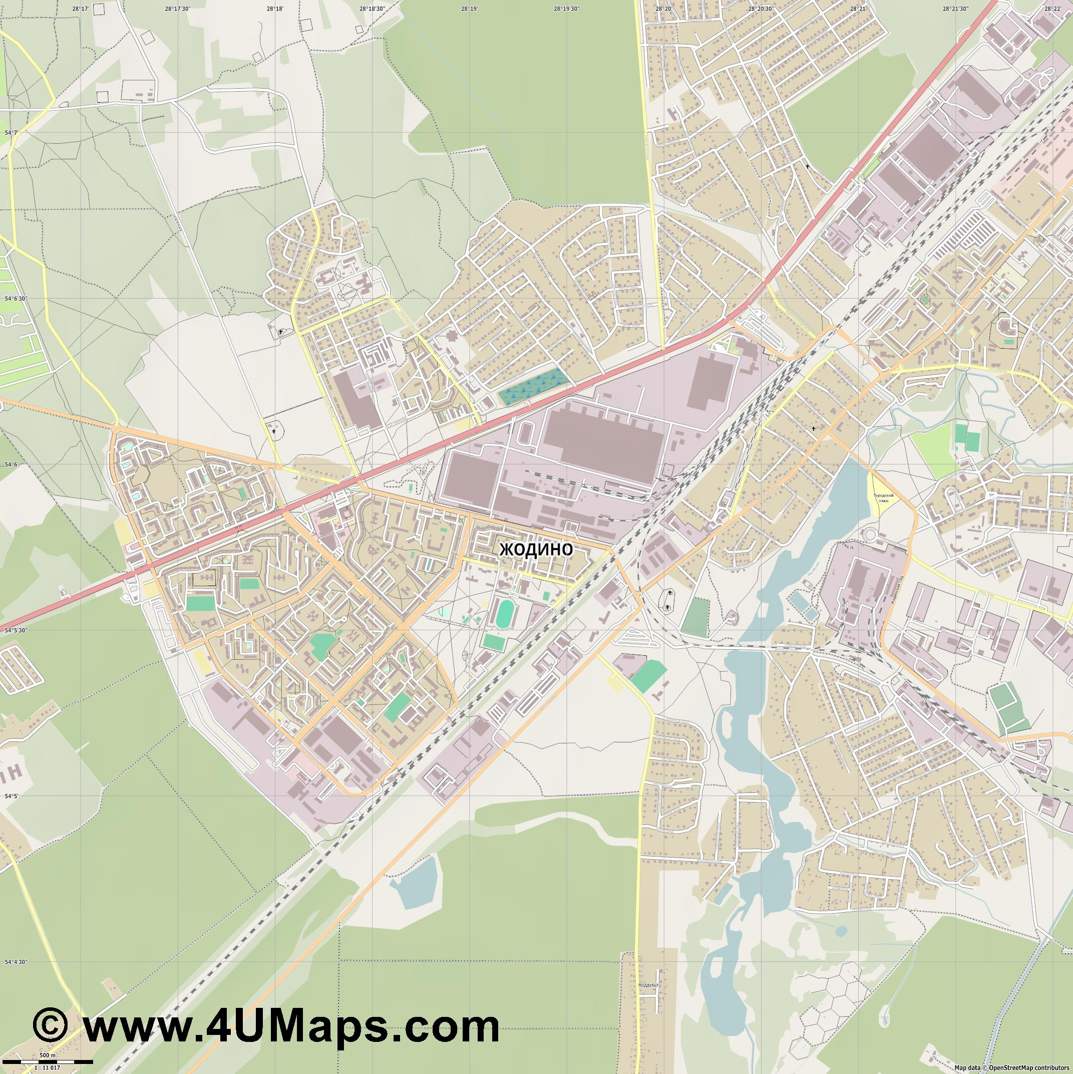 Жодино Zhodzina Jodzina Schodsina  jpg ultra high detail preview vector city map