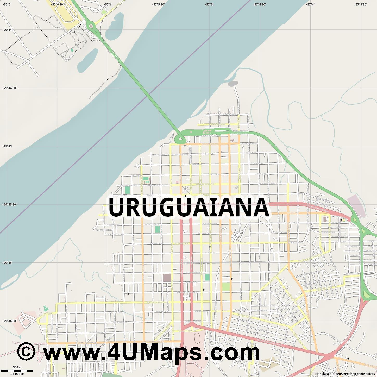 Uruguaiana  jpg ultra high detail preview vector city map