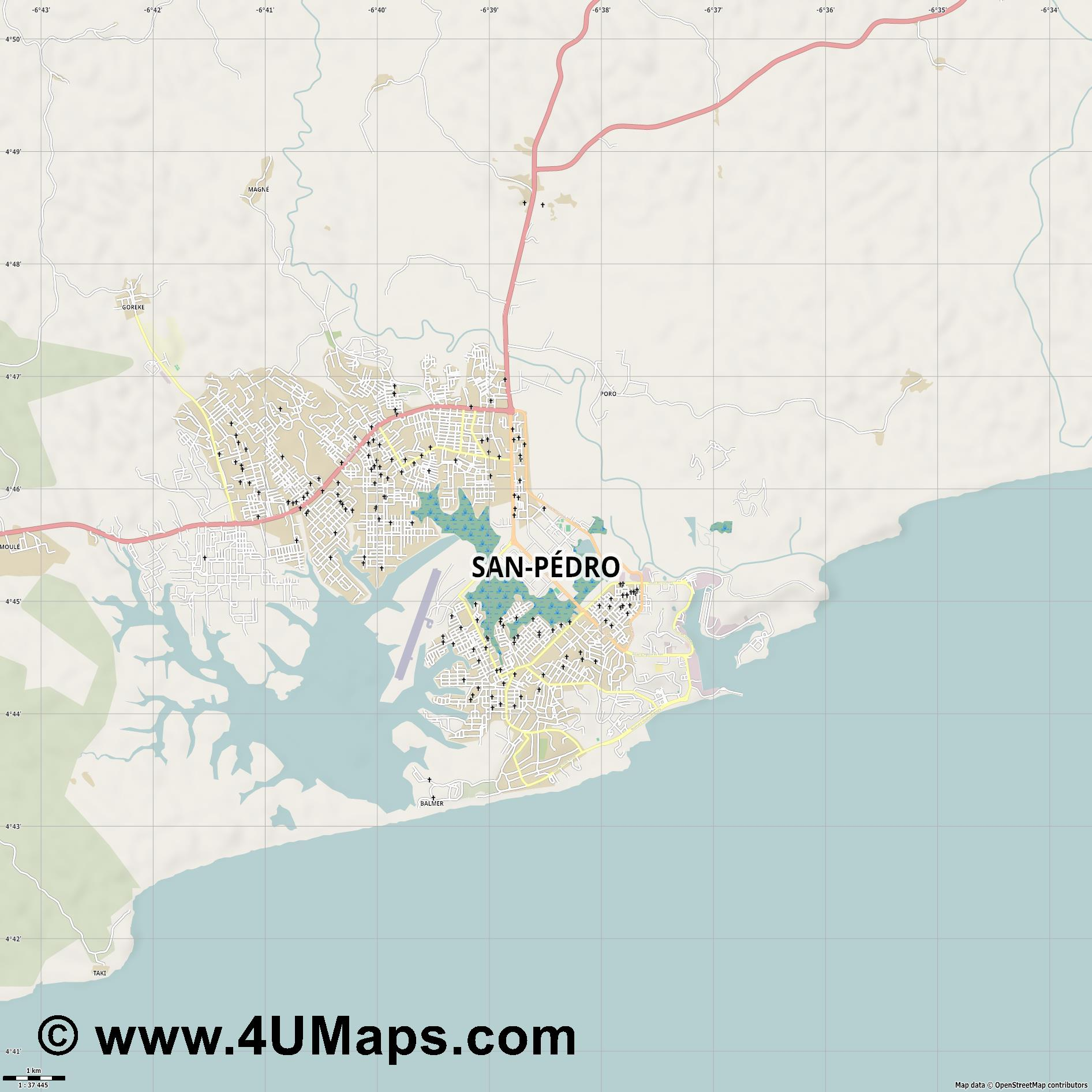 San Pédro  jpg high detail, large area preview vector city map