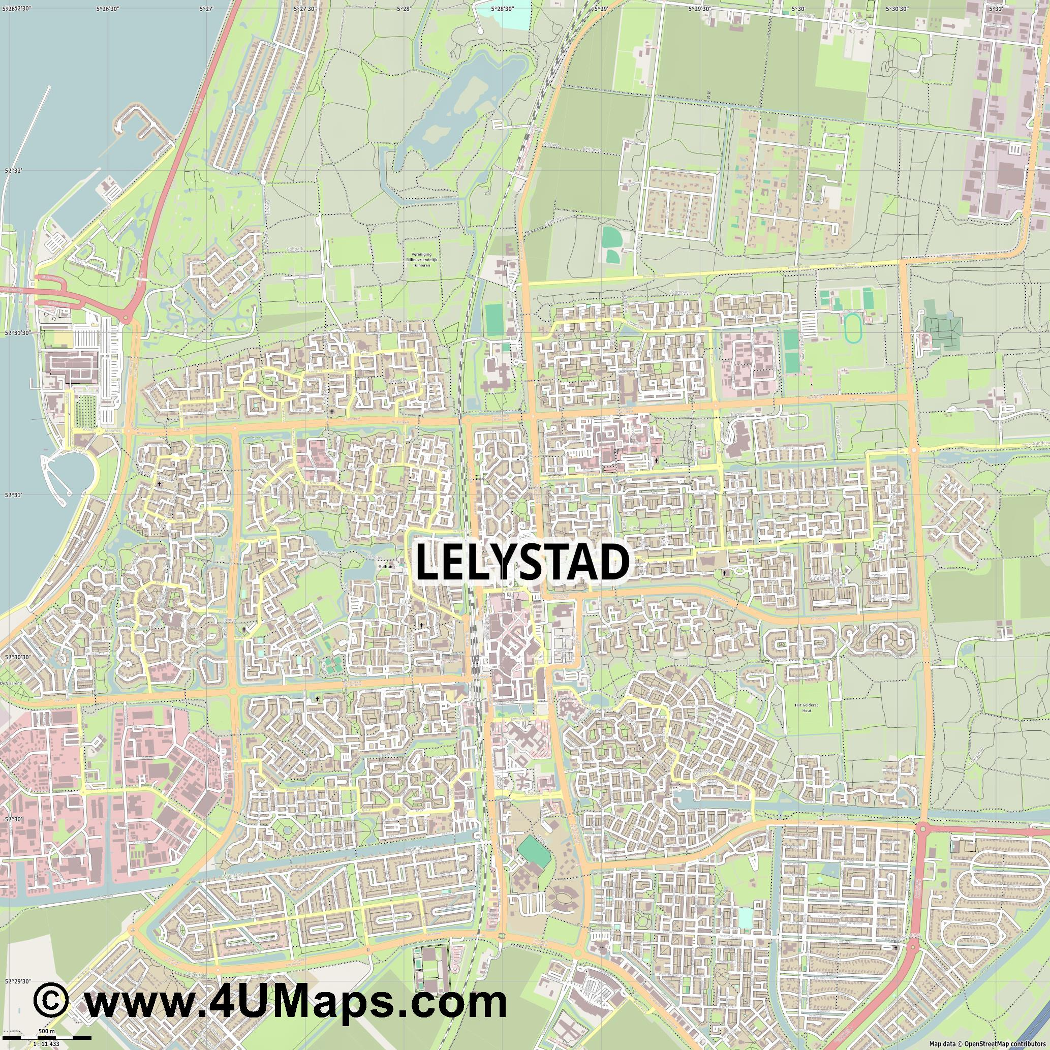 Lelystad  jpg ultra high detail preview vector city map