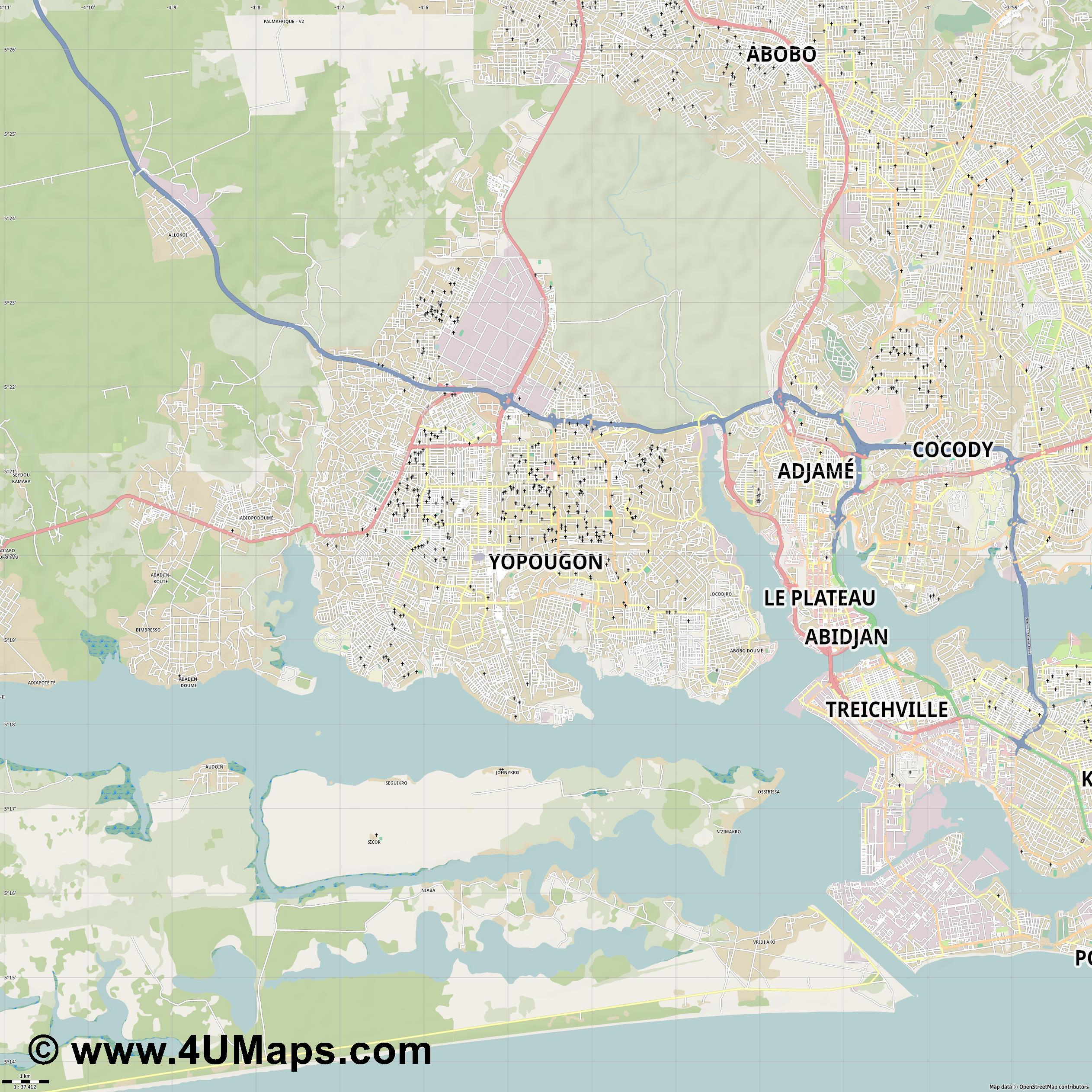 Yopougon  jpg high detail, large area preview vector city map