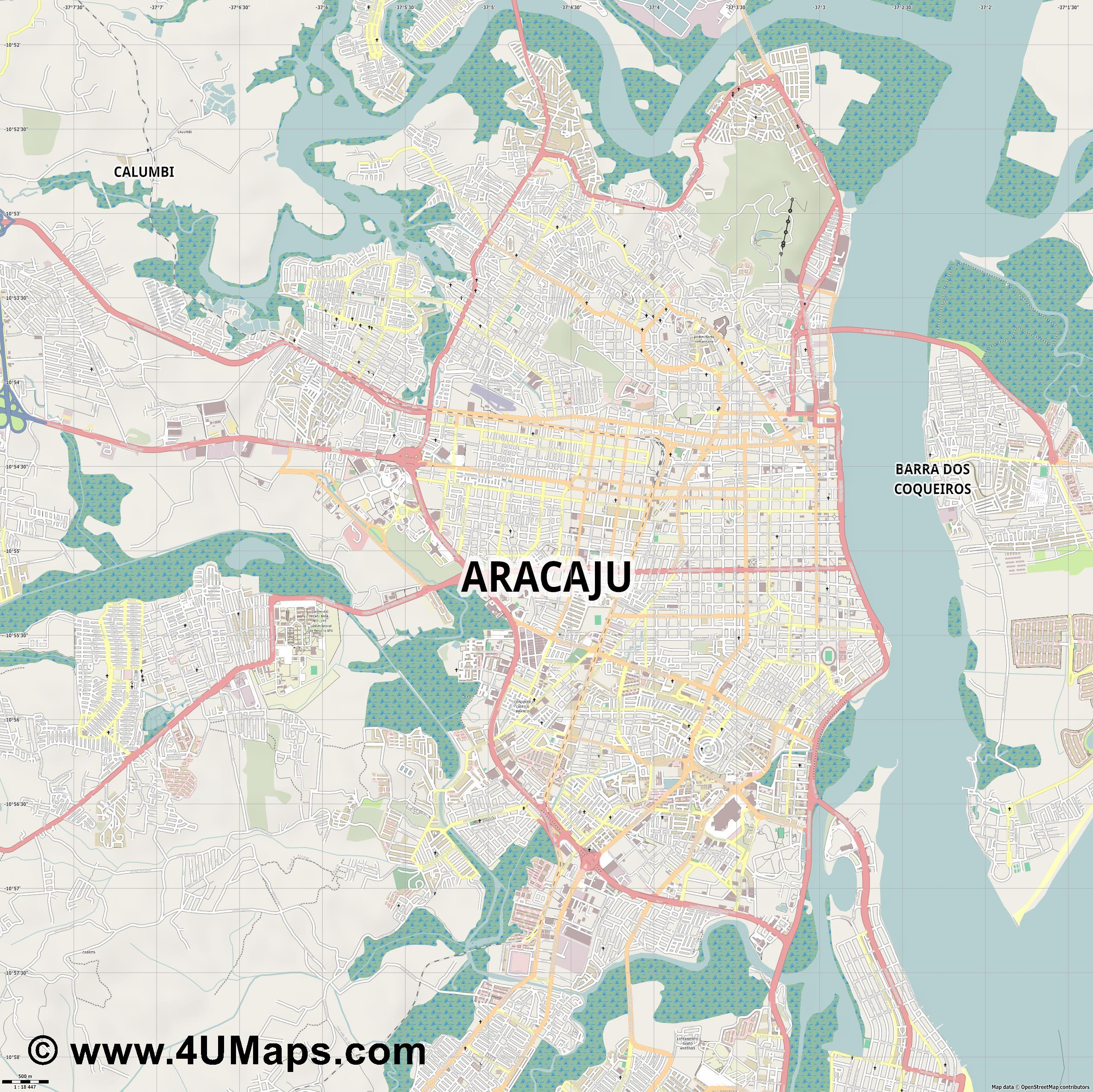 Aracaju  jpg ultra high detail preview vector city map