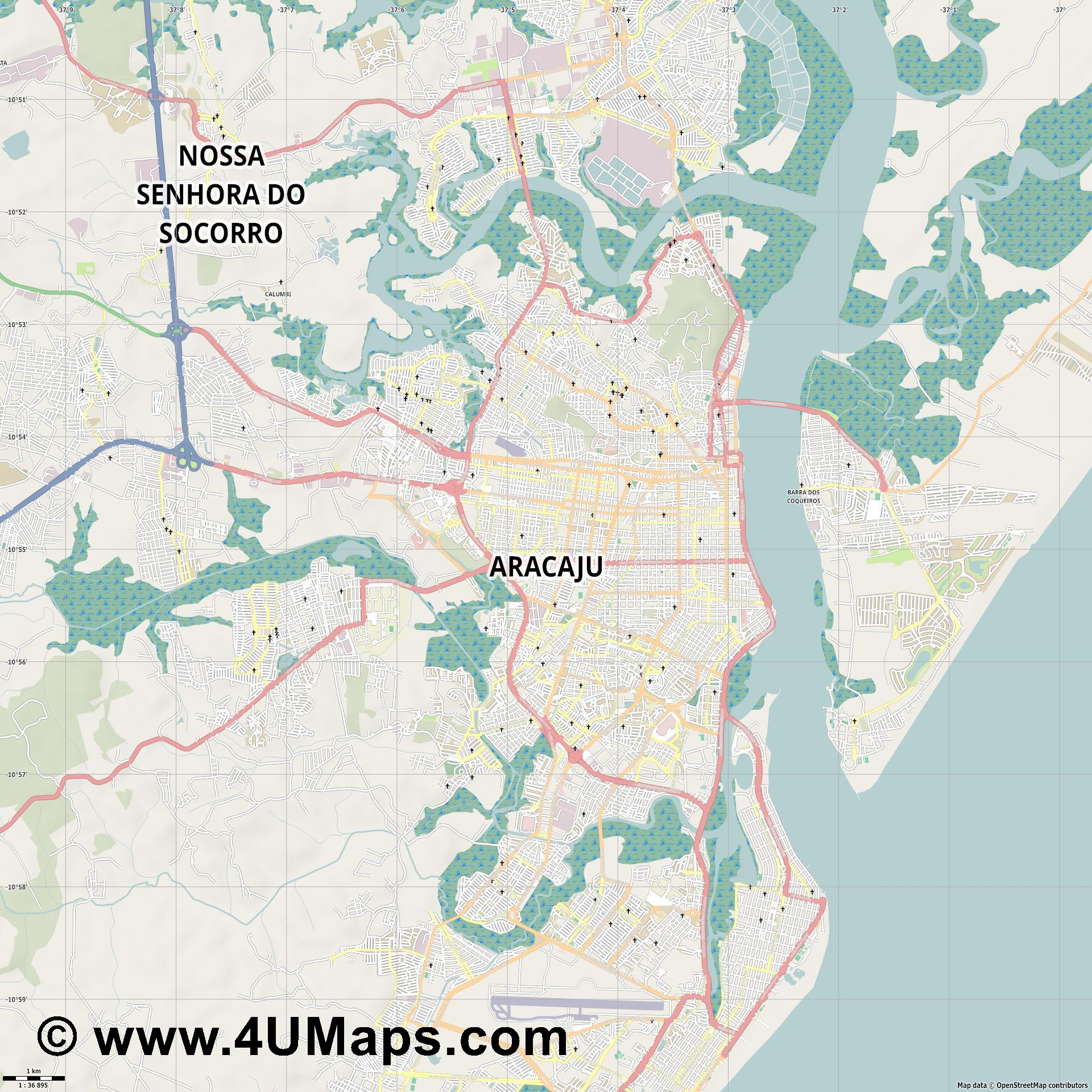 Aracaju  jpg high detail, large area preview vector city map