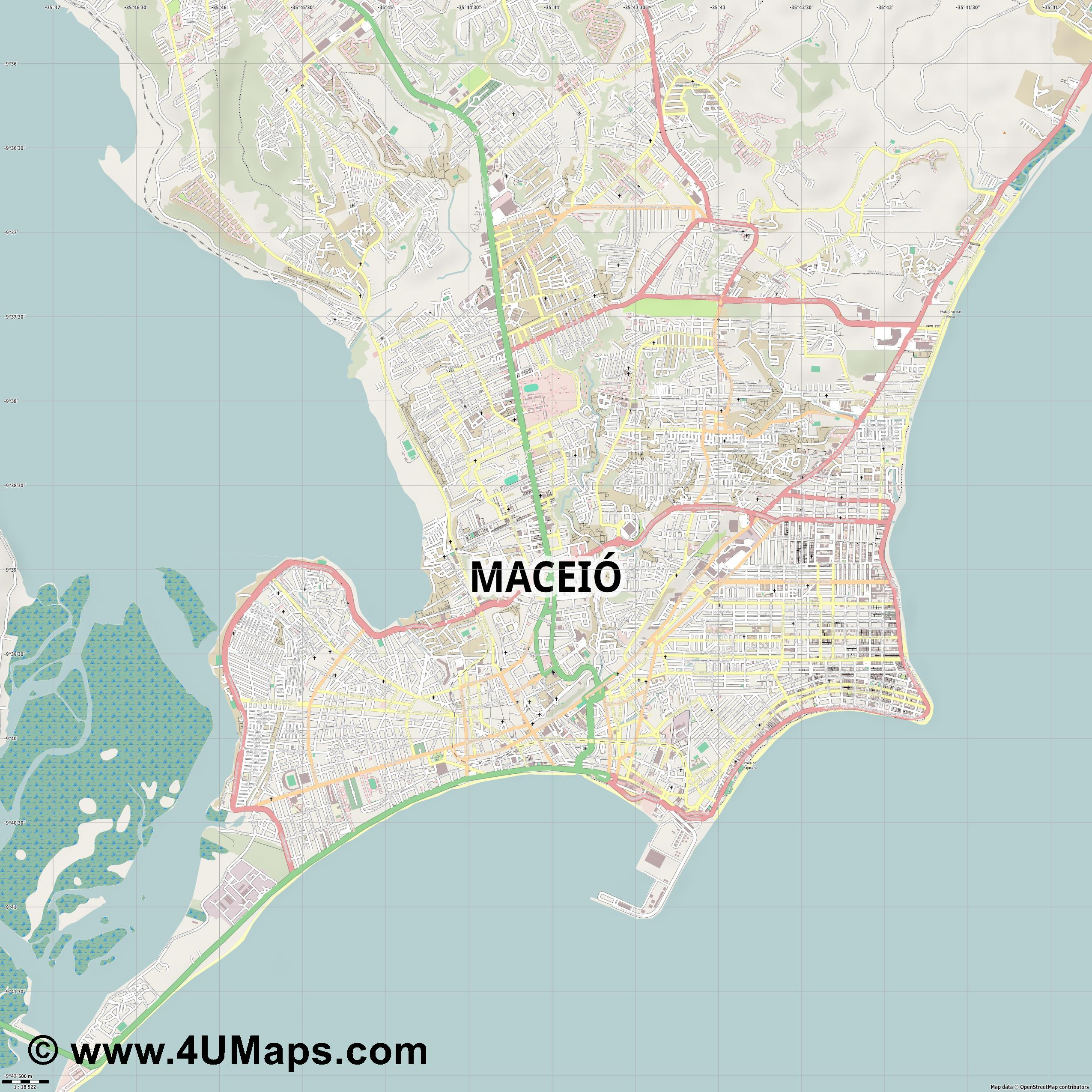 Maceió  jpg ultra high detail preview vector city map