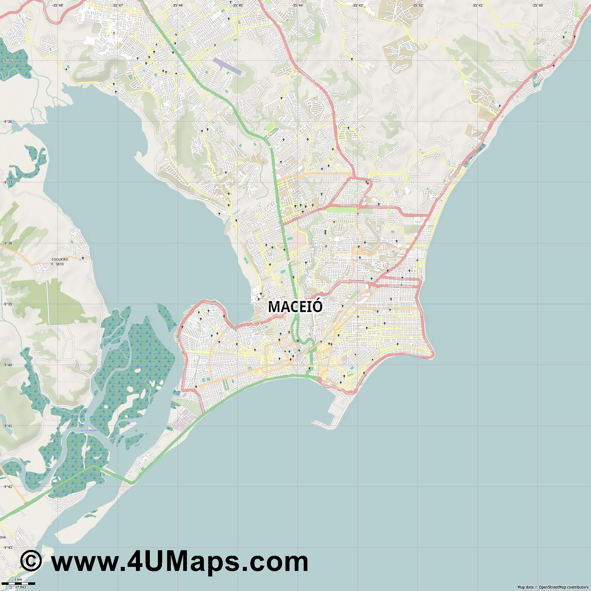 Maceió  jpg high detail, large area preview vector city map