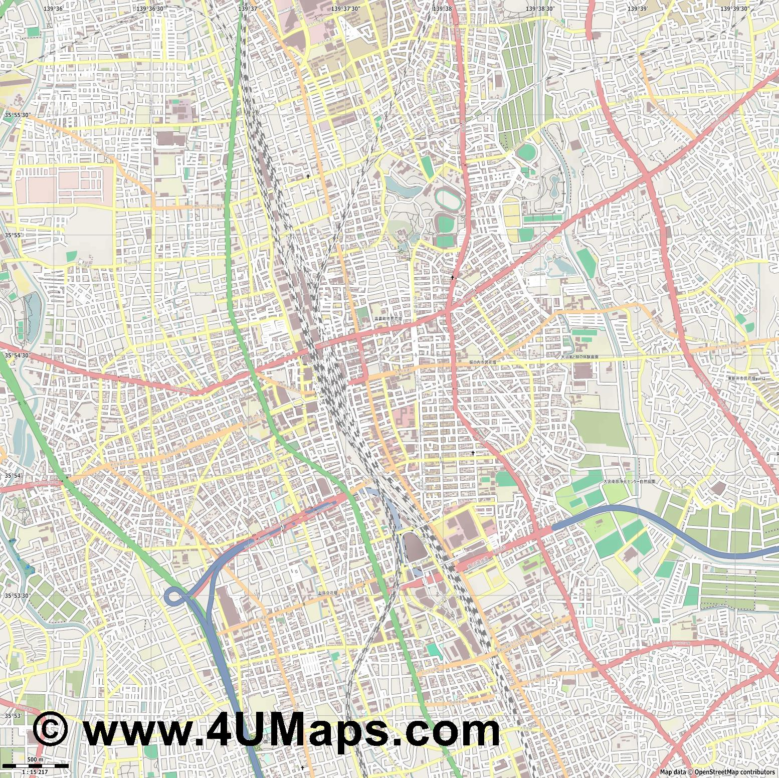 大宮区  Omiya   jpg ultra high detail preview vector city map
