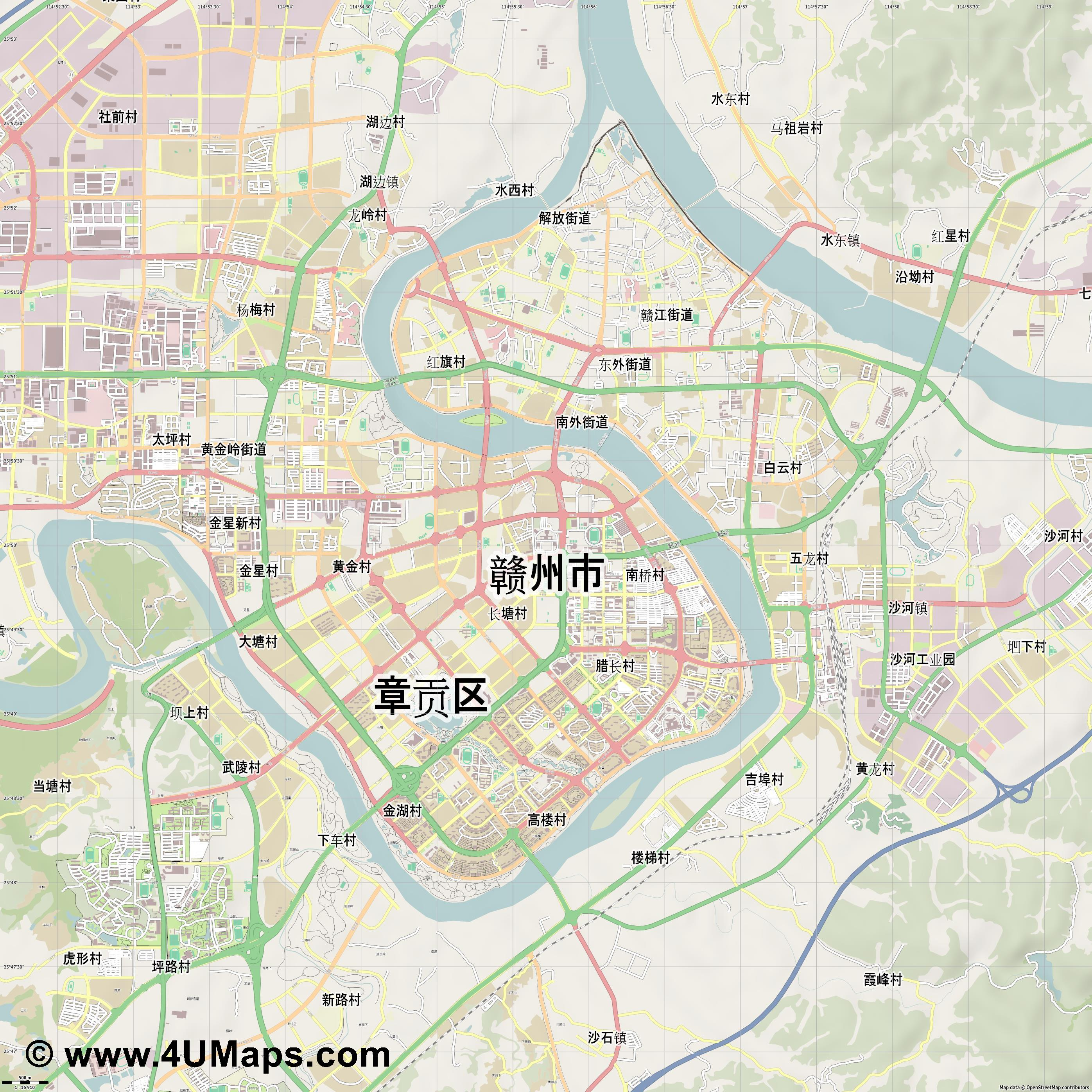 赣州市 Ganzhou  jpg ultra high detail preview vector city map