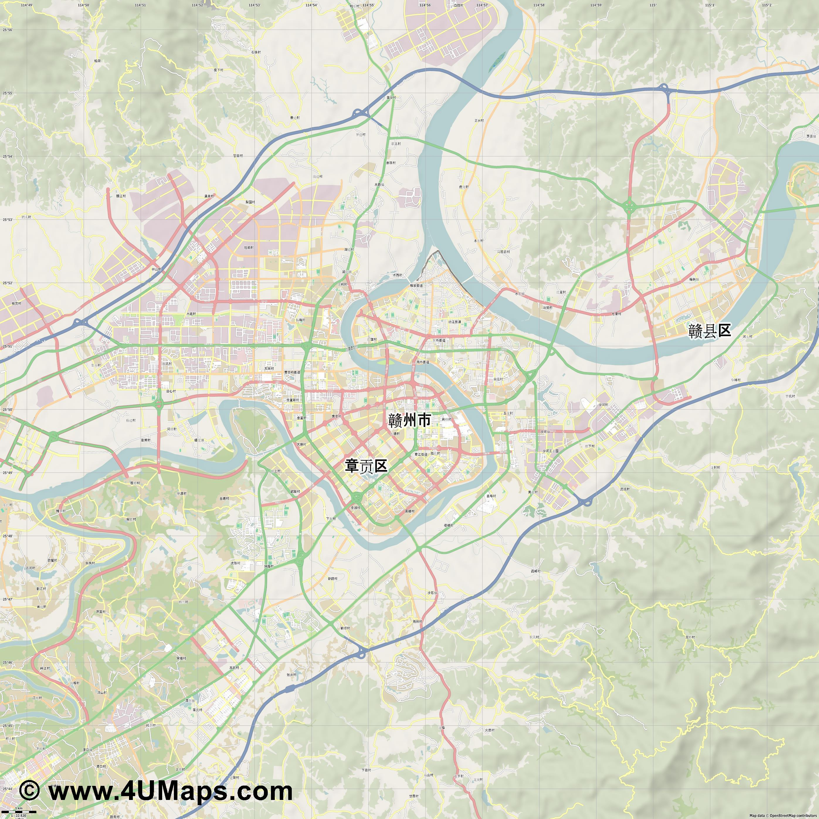 赣州市 Ganzhou  jpg high detail, large area preview vector city map
