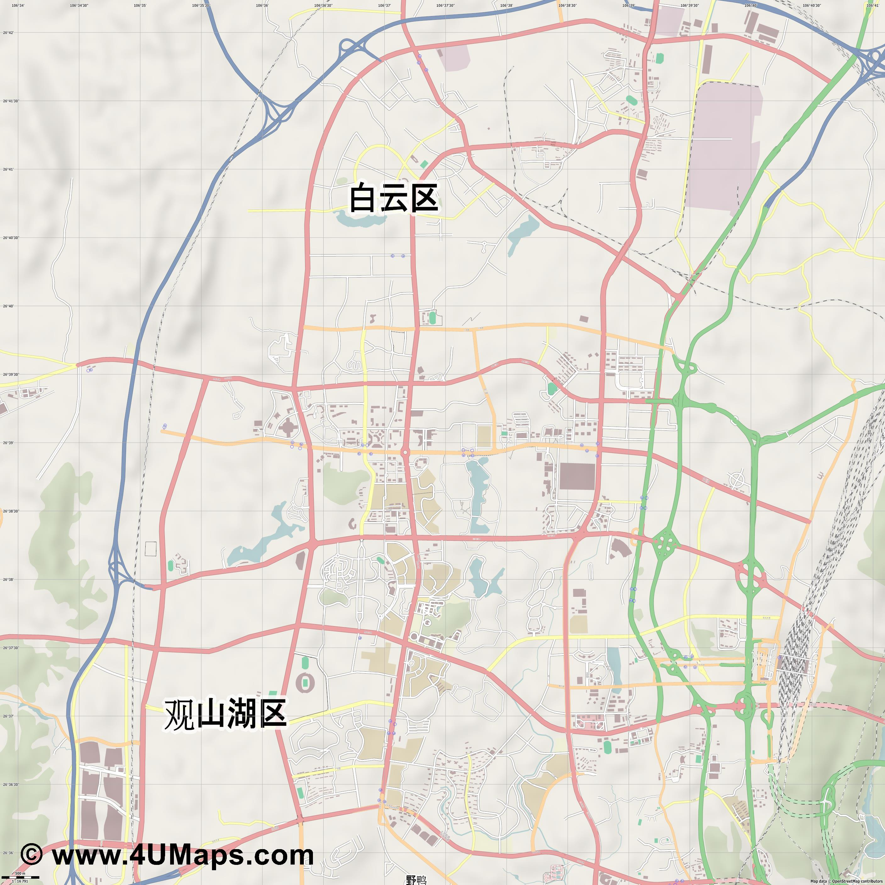 贵阳市 Guiyang  jpg ultra high detail preview vector city map