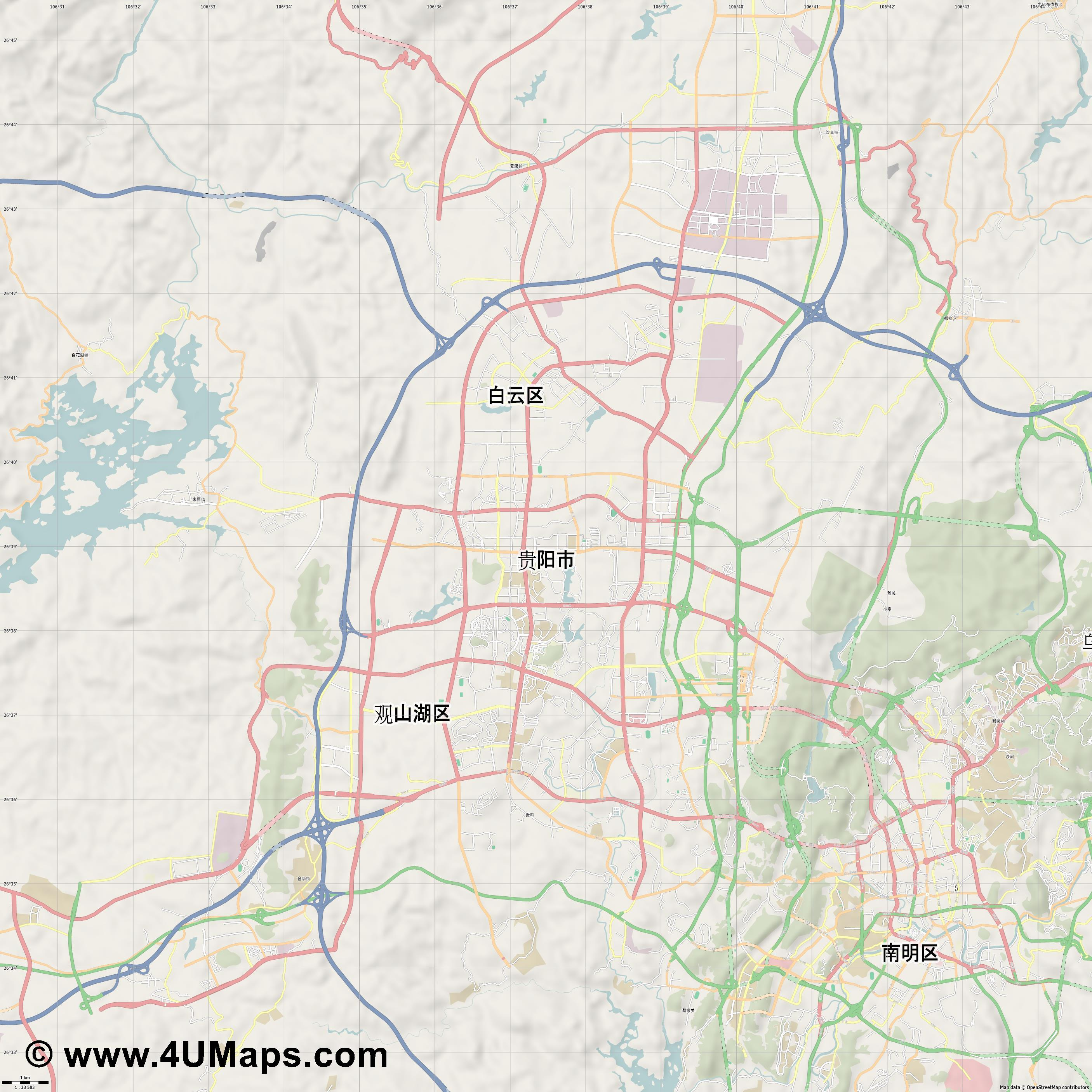 贵阳市 Guiyang  jpg high detail, large area preview vector city map