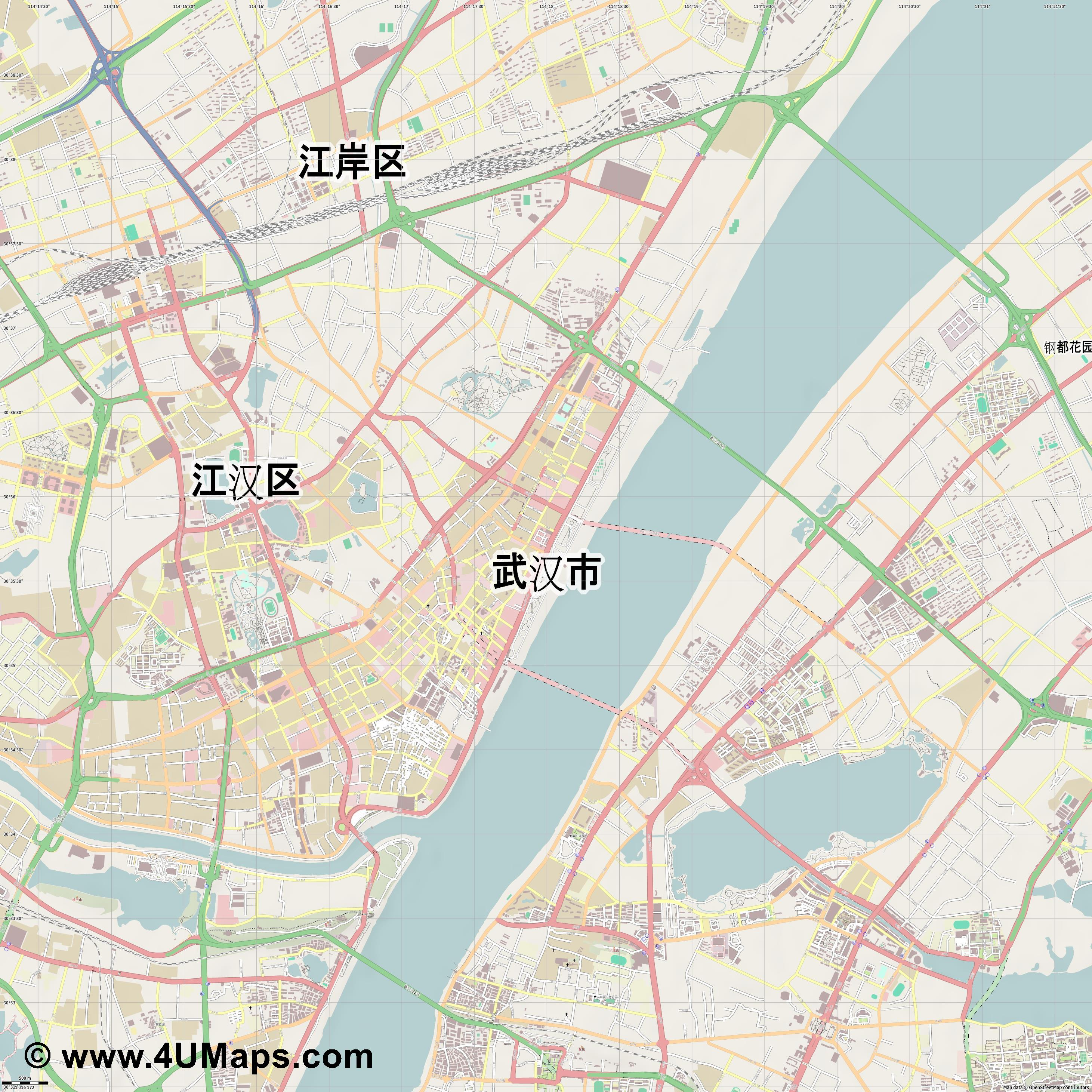武汉市 Wuhan Wǔhàn  jpg ultra high detail preview vector city map