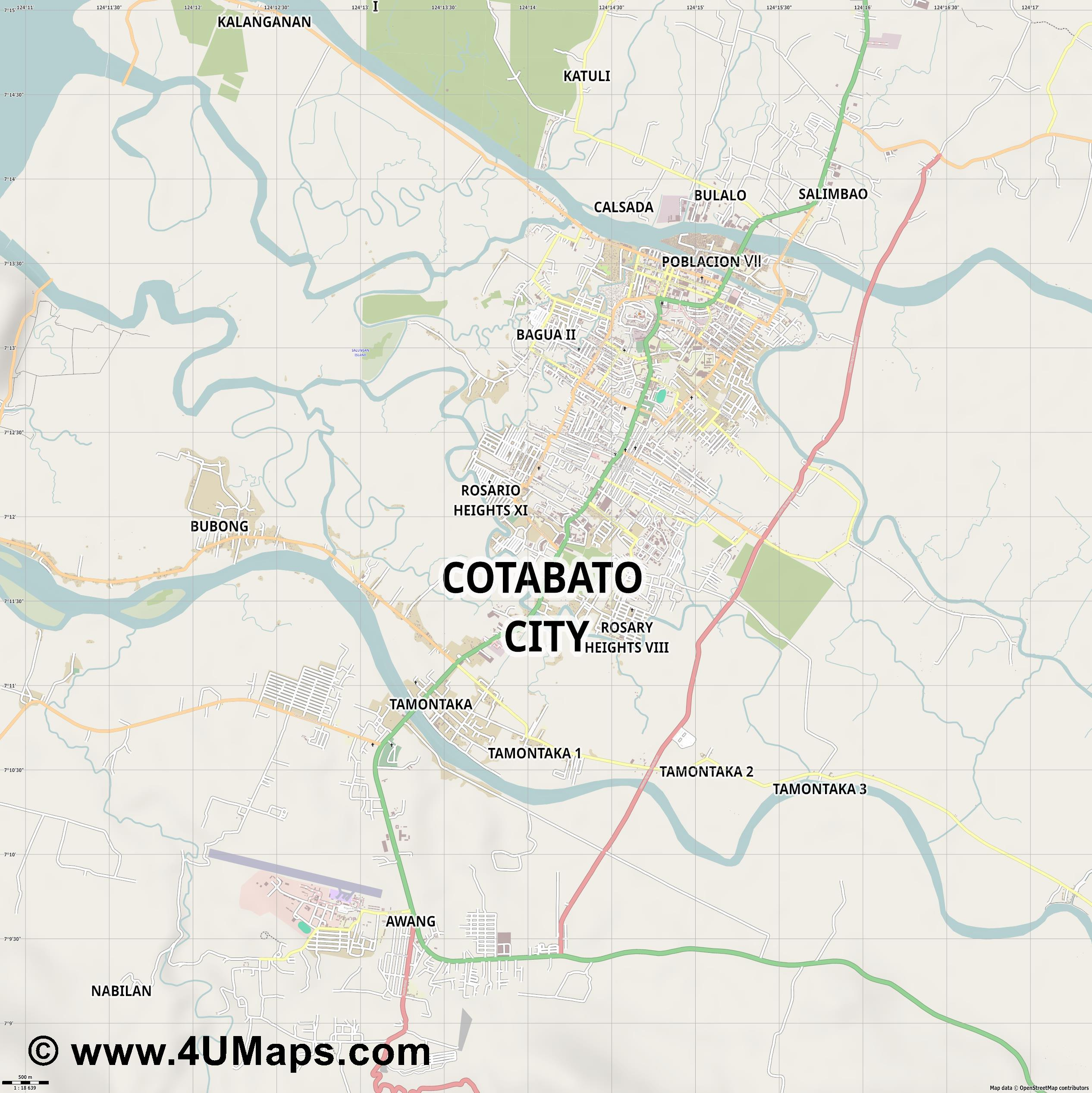 Cotabato City  jpg ultra high detail preview vector city map