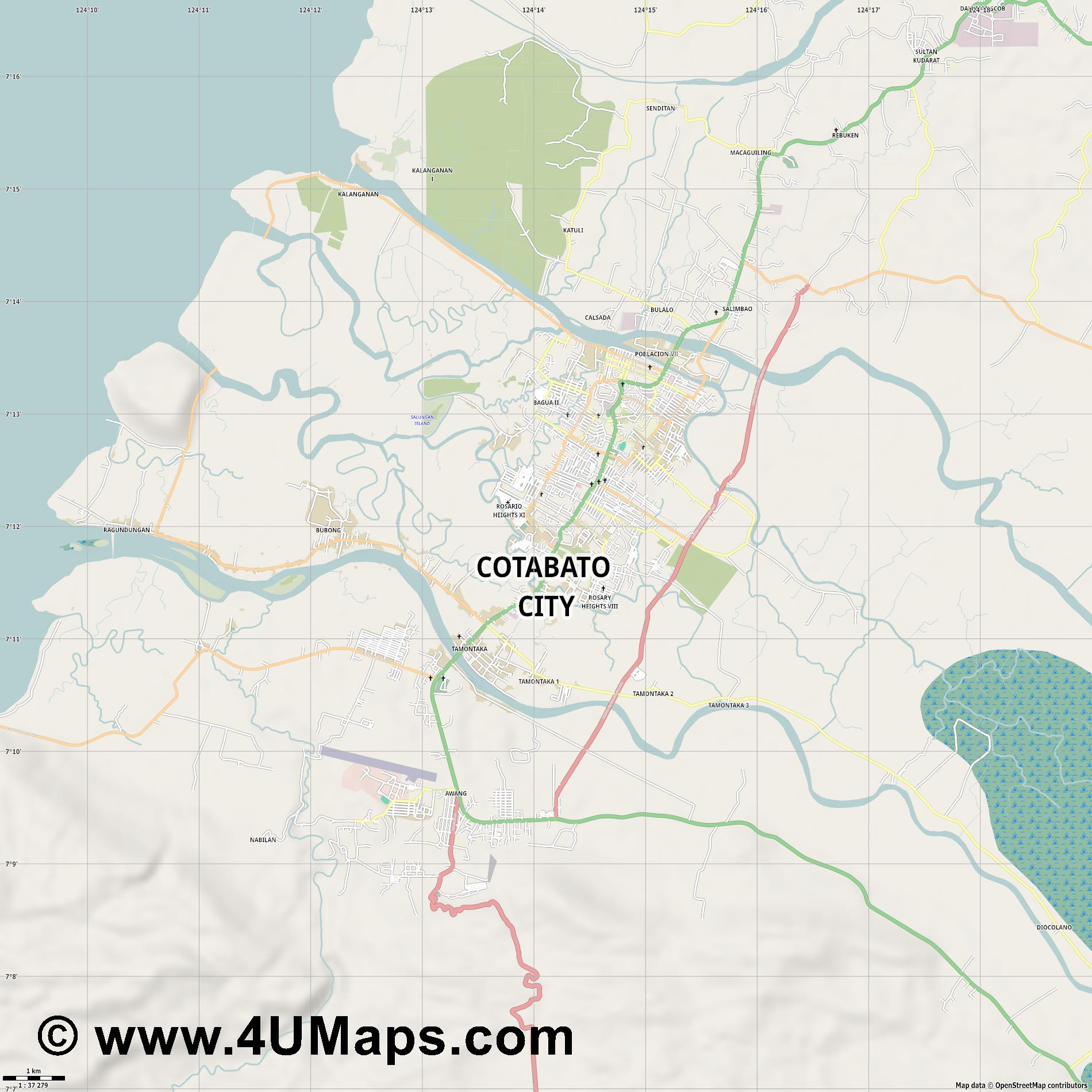 Cotabato City  jpg high detail, large area preview vector city map