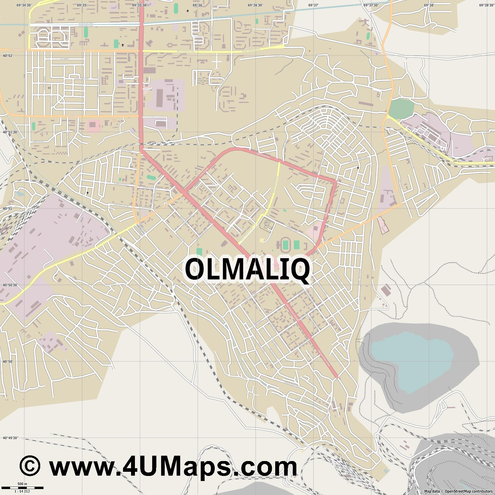 Olmaliq Almaliq  jpg ultra high detail preview vector city map