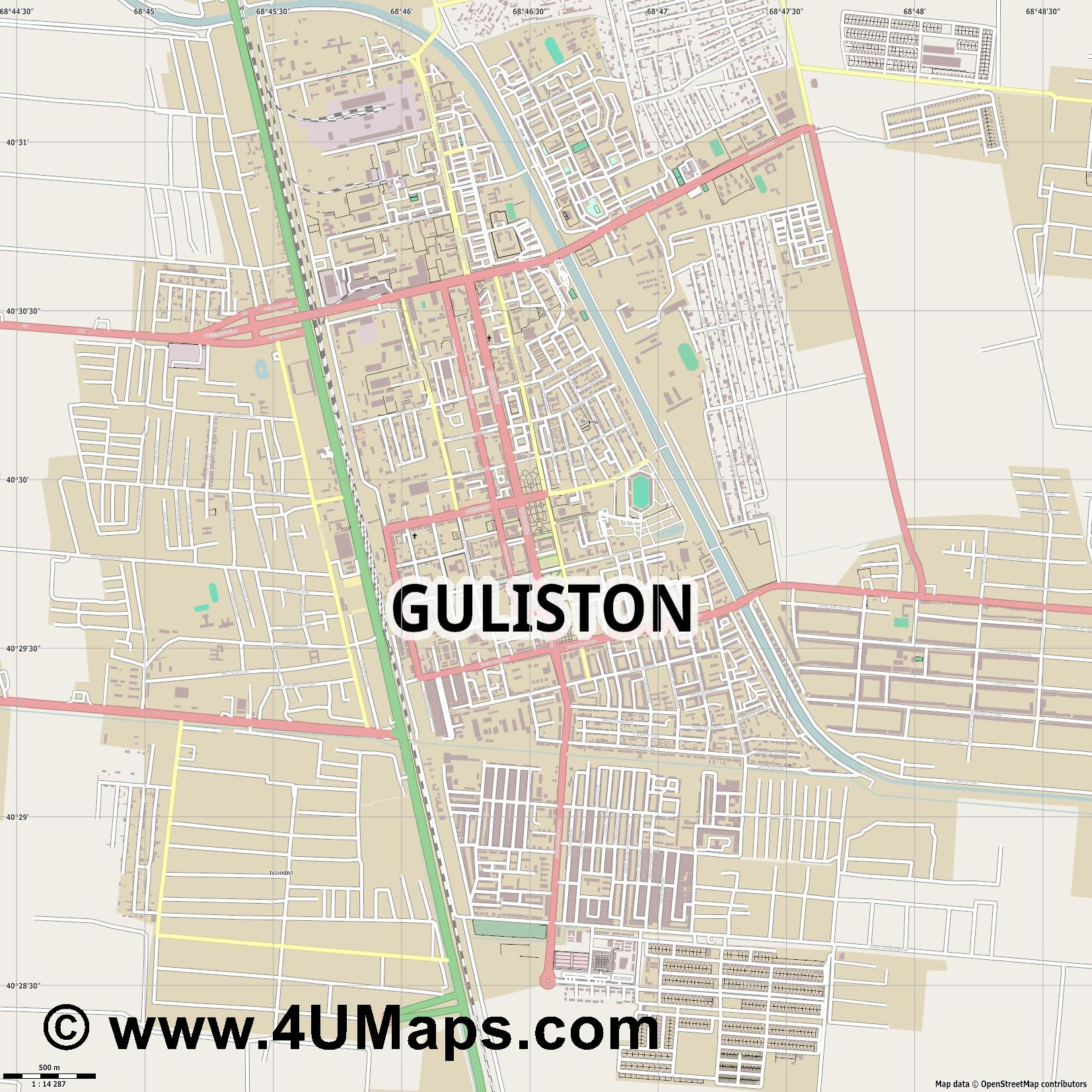 Guliston Gulistan Goulistan  jpg ultra high detail preview vector city map