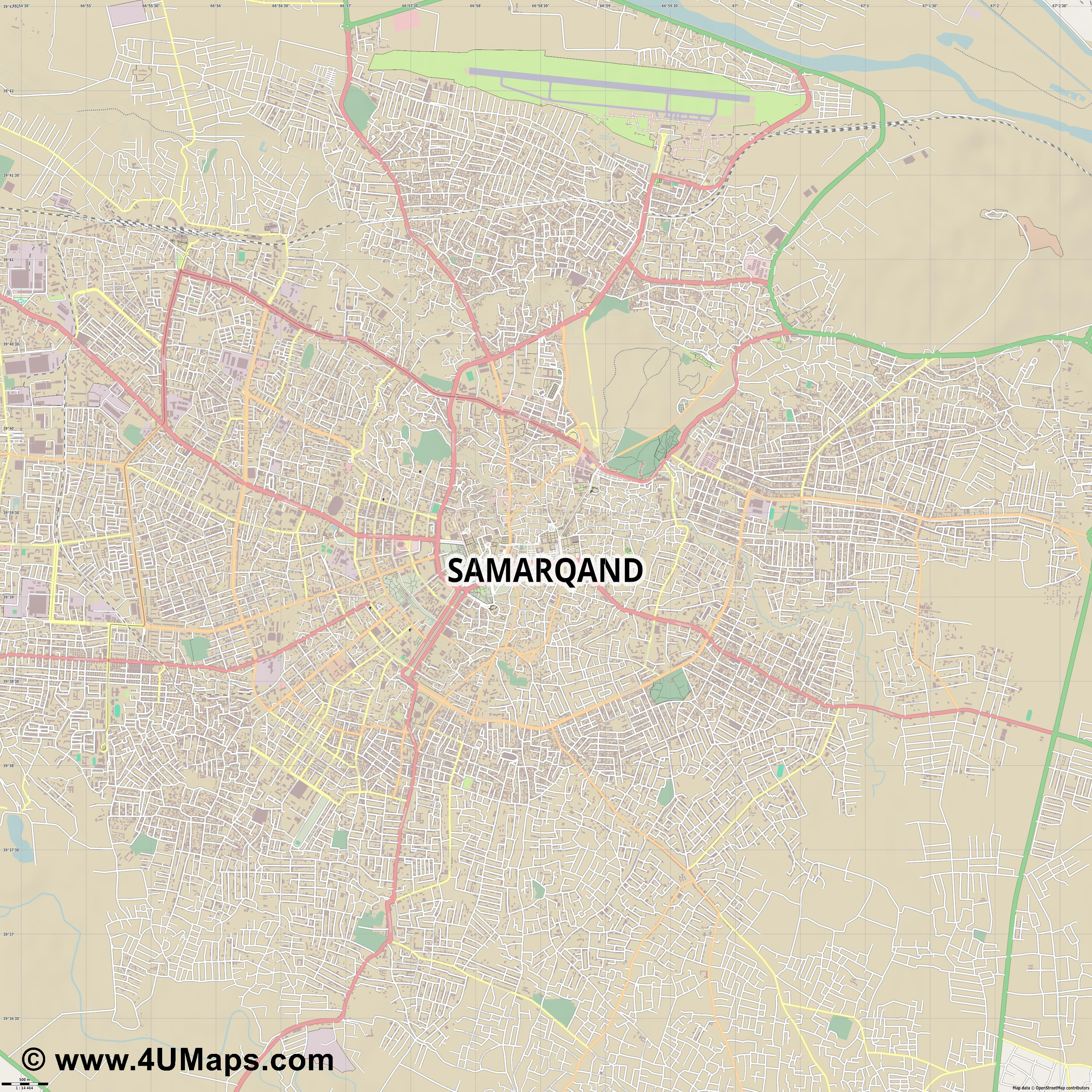 Samarqand Samarkand Samarcande Samarcanda  jpg ultra high detail preview vector city map