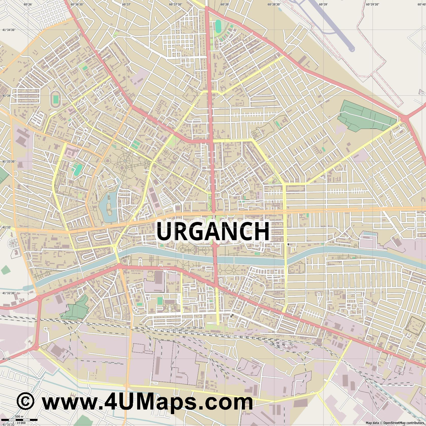 Urganch Urgench Ourguentch  jpg ultra high detail preview vector city map