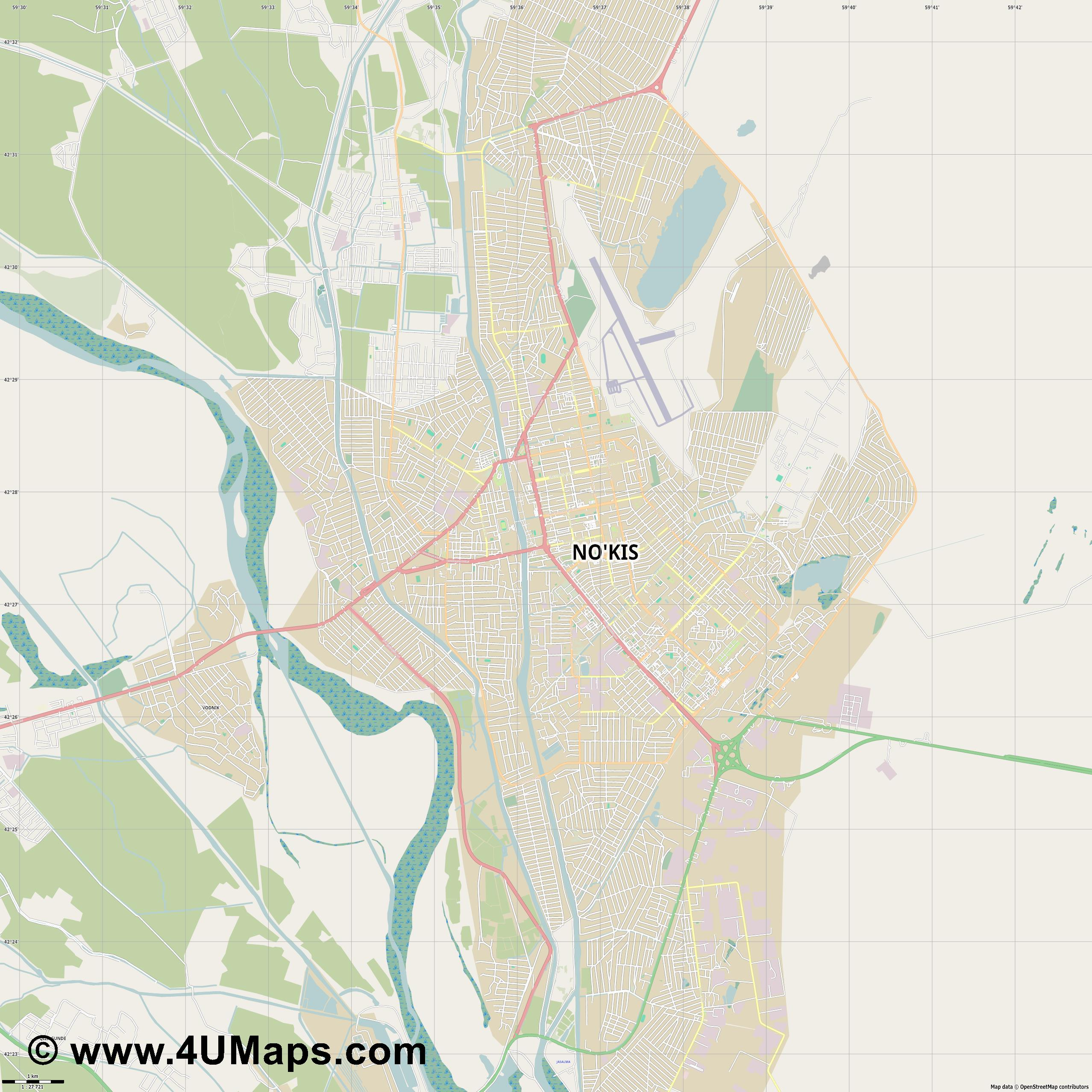 Nukus Noukous  jpg high detail, large area preview vector city map