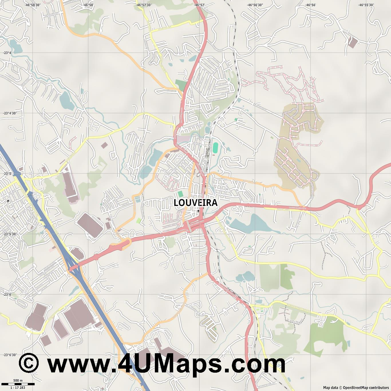 Louveira  jpg ultra high detail preview vector city map