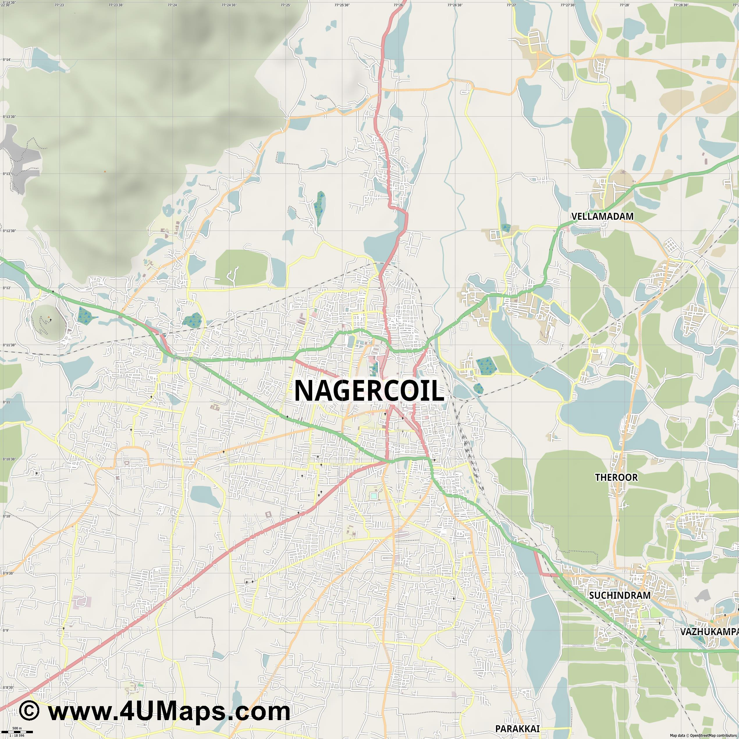 Nagercoil  jpg ultra high detail preview vector city map