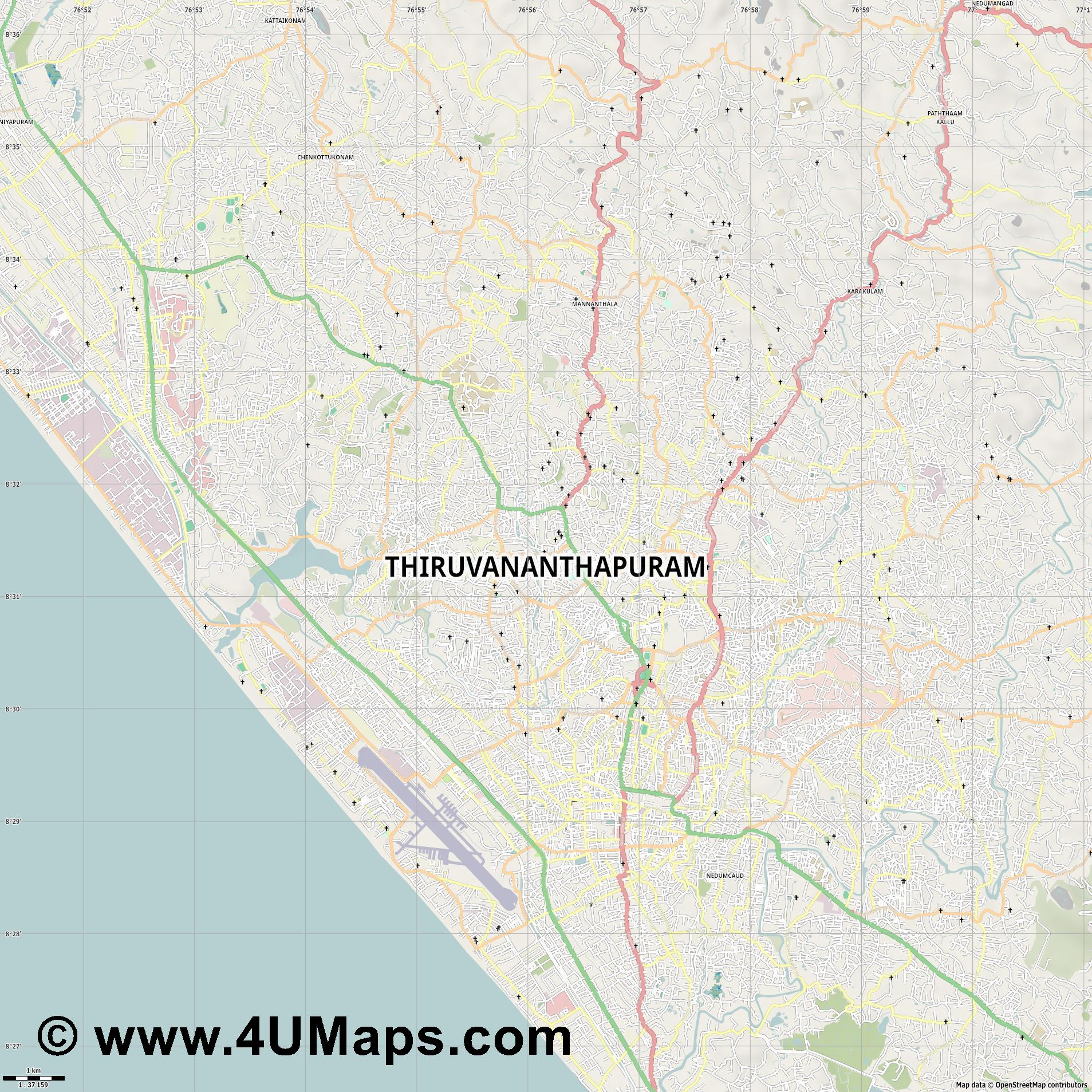 Thiruvananthapuram  jpg high detail, large area preview vector city map