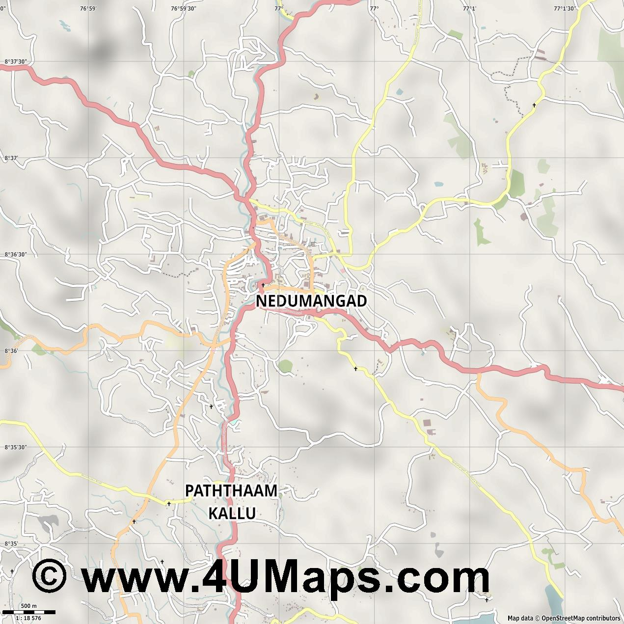 Nedumangad  jpg ultra high detail preview vector city map