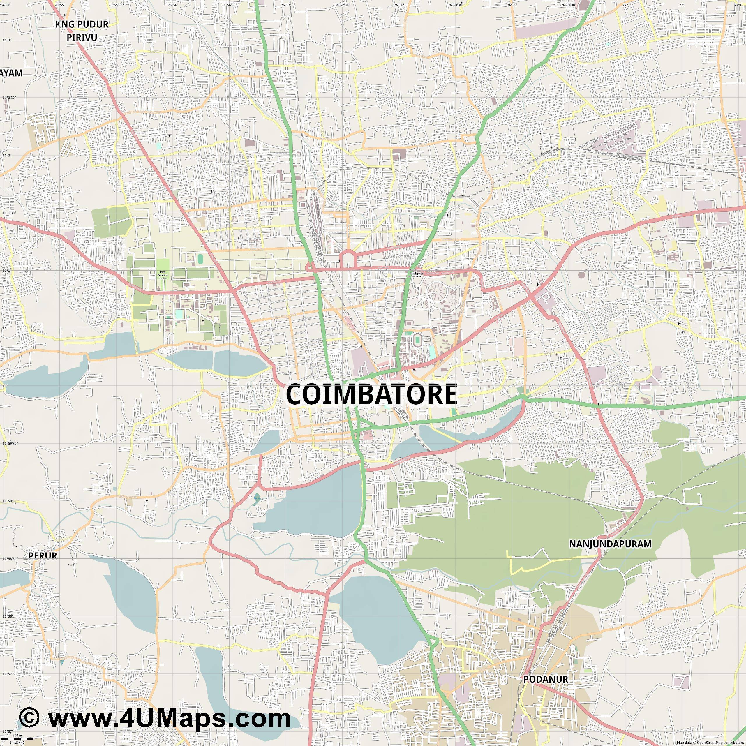 Coimbatore  jpg ultra high detail preview vector city map