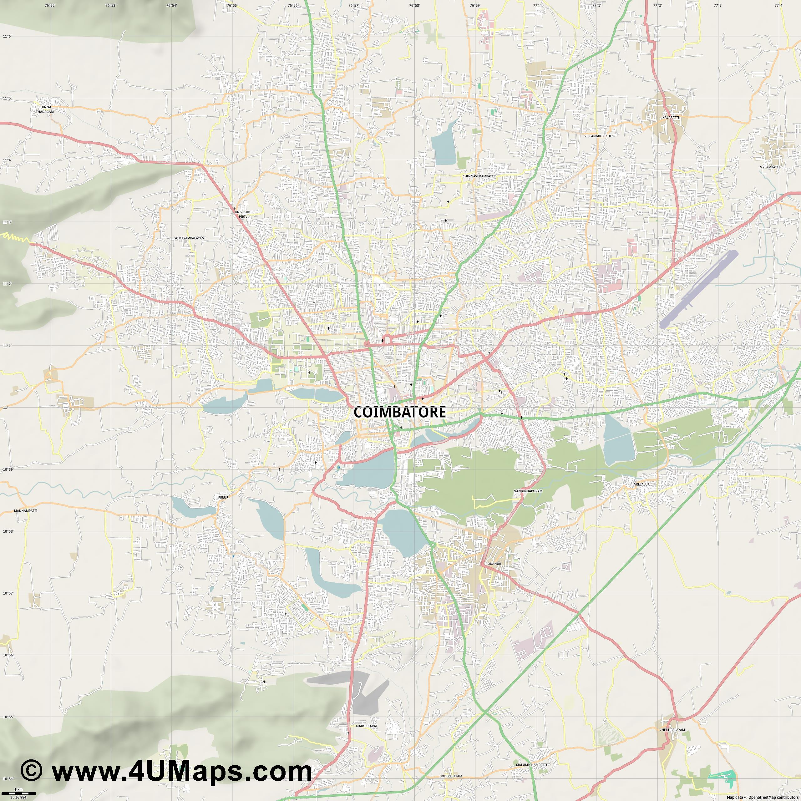Coimbatore  jpg high detail, large area preview vector city map