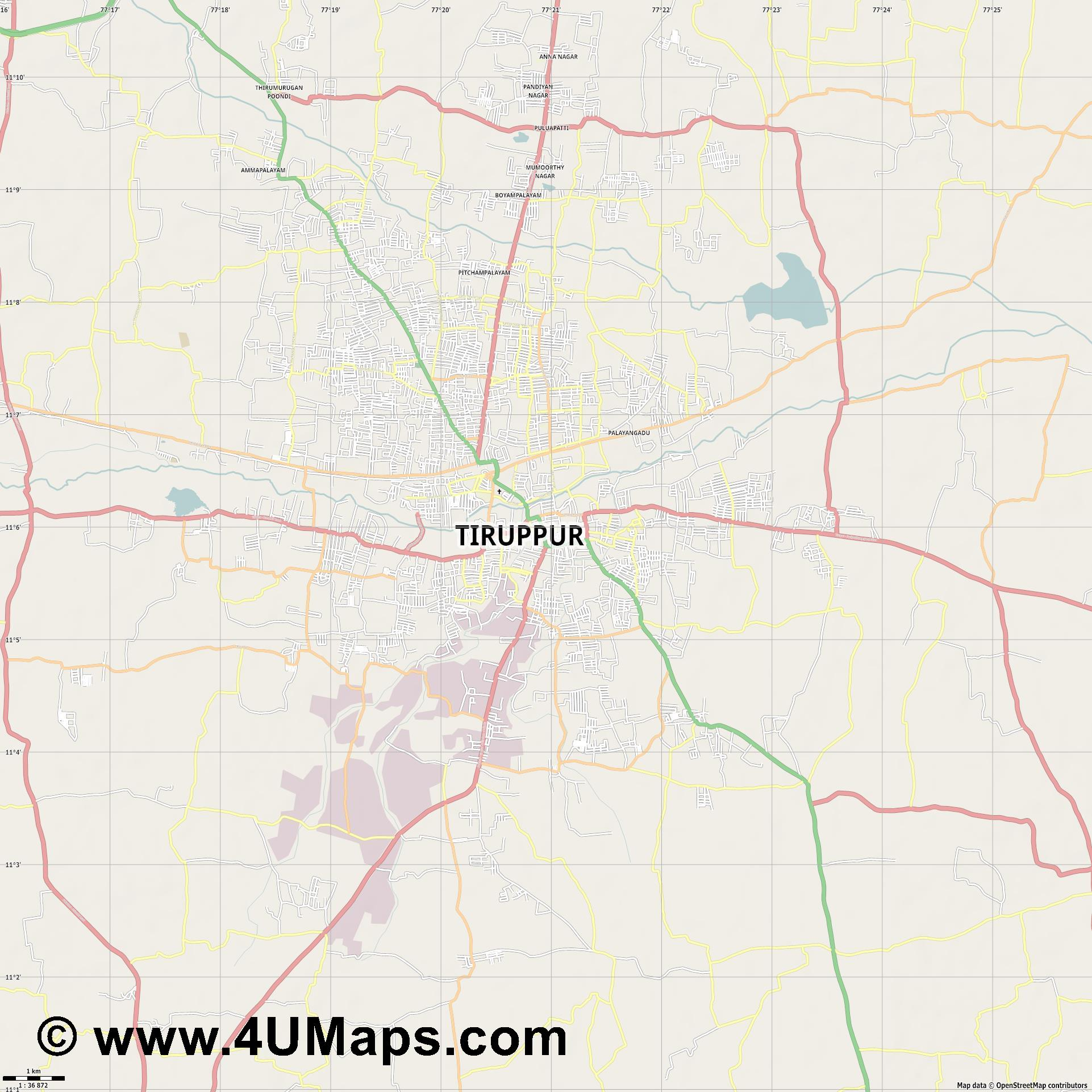 Tiruppur  jpg high detail, large area preview vector city map