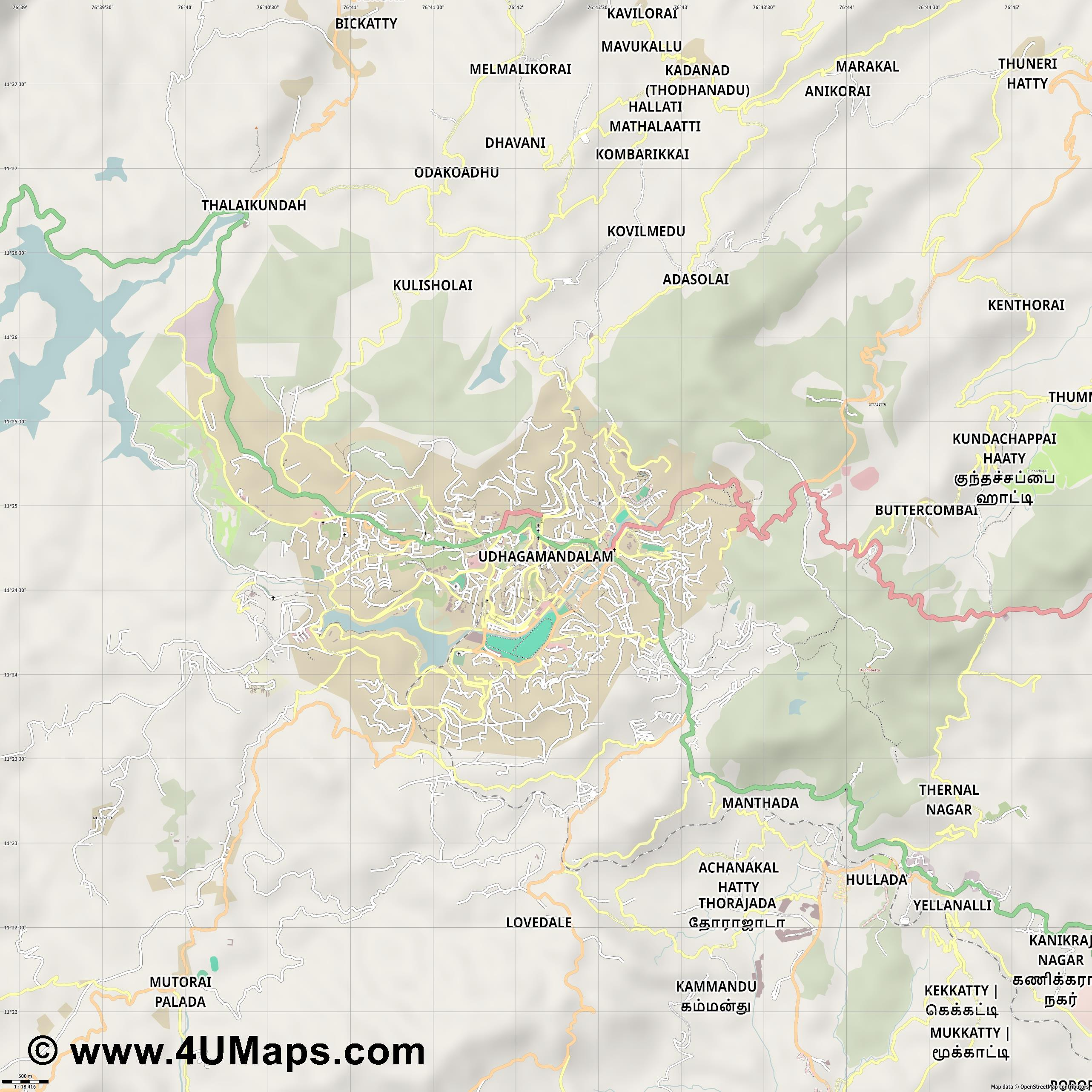 Udhagamandalam Ooty  jpg ultra high detail preview vector city map