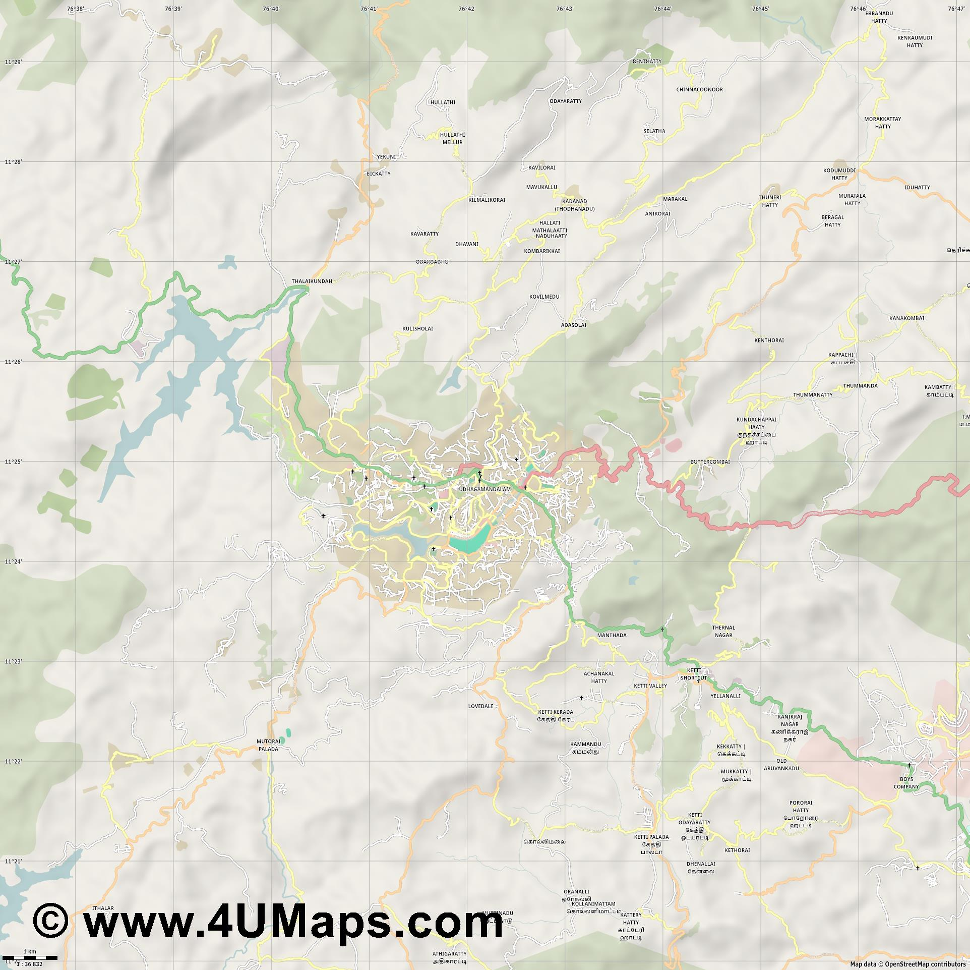 Udhagamandalam Ooty  jpg high detail, large area preview vector city map