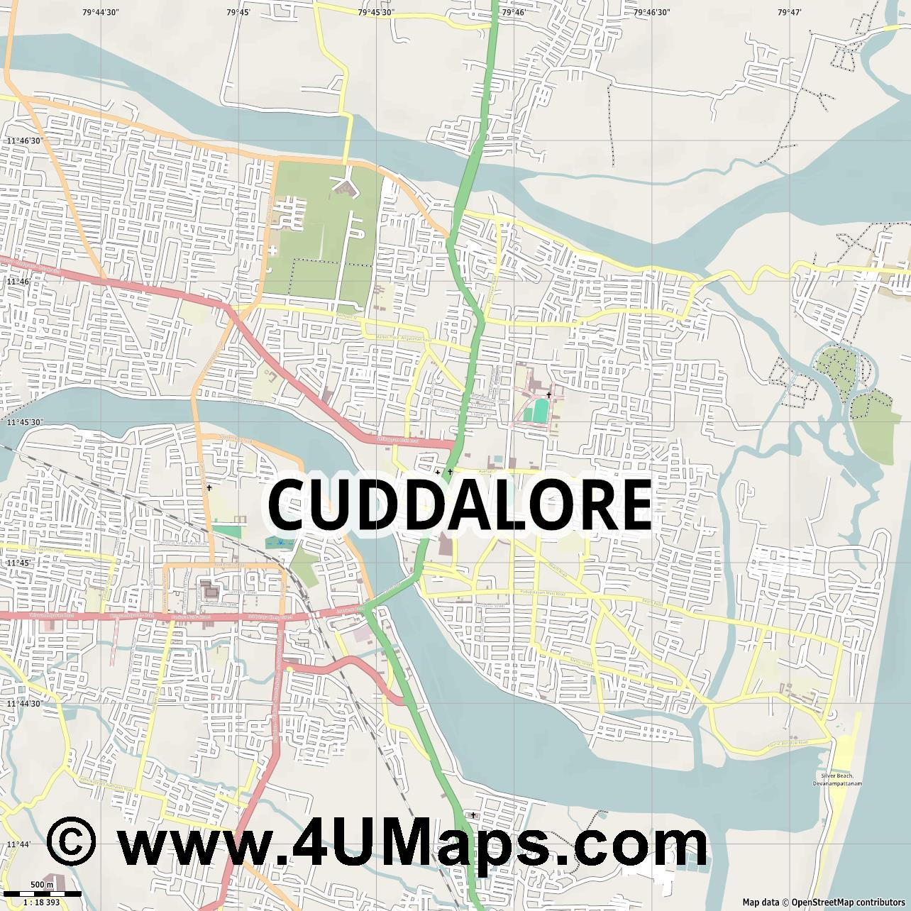Cuddalore  jpg ultra high detail preview vector city map