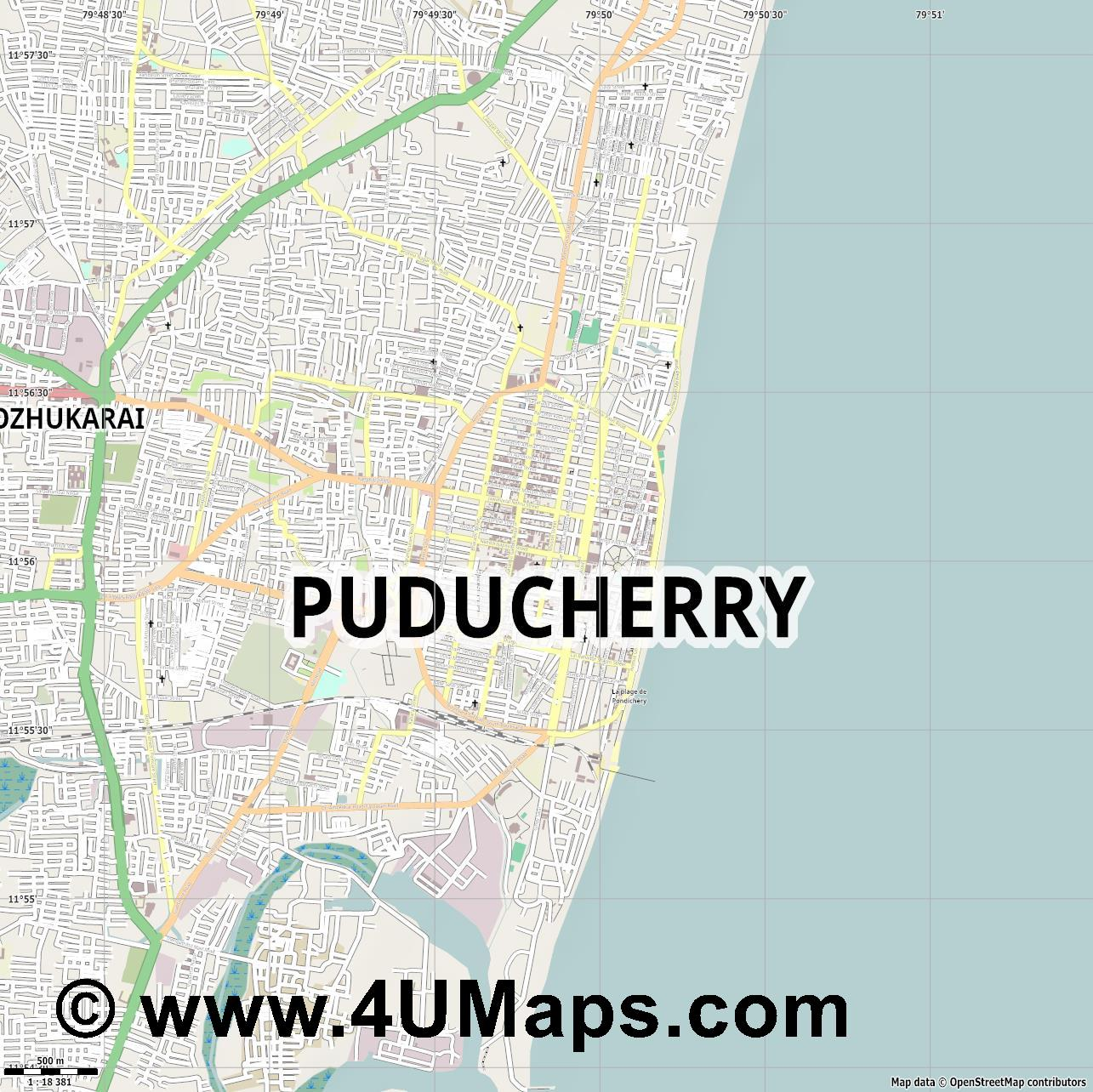 Svg Scalable Vector City Map Puducherry - Pondicherry map