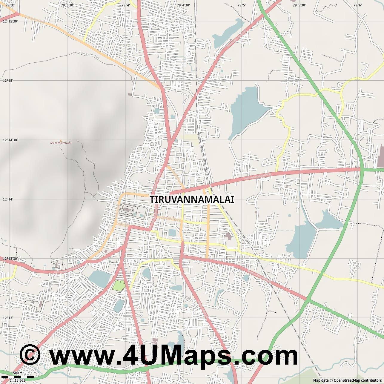 Tiruvannamalai  jpg ultra high detail preview vector city map