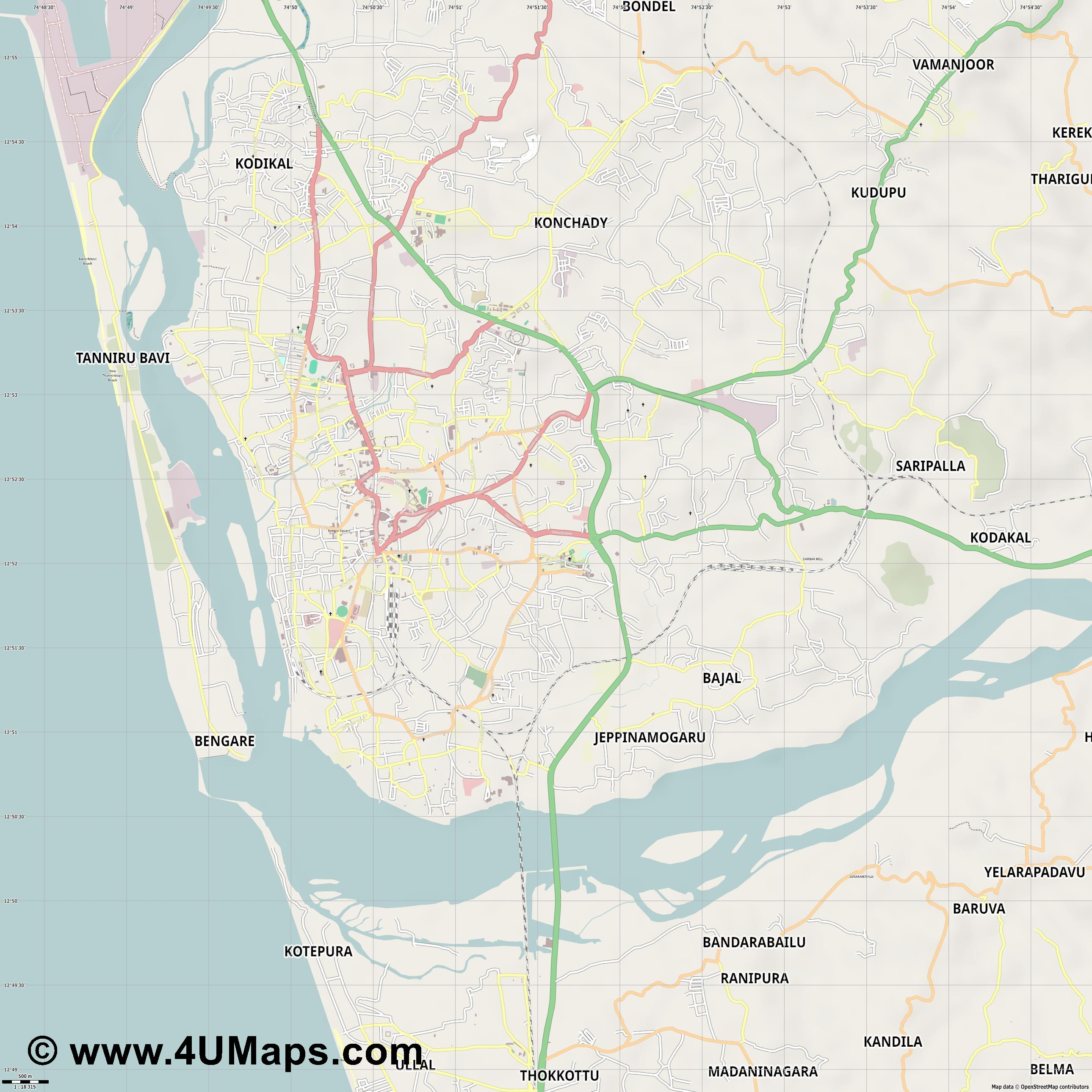 Mangalore  jpg ultra high detail preview vector city map