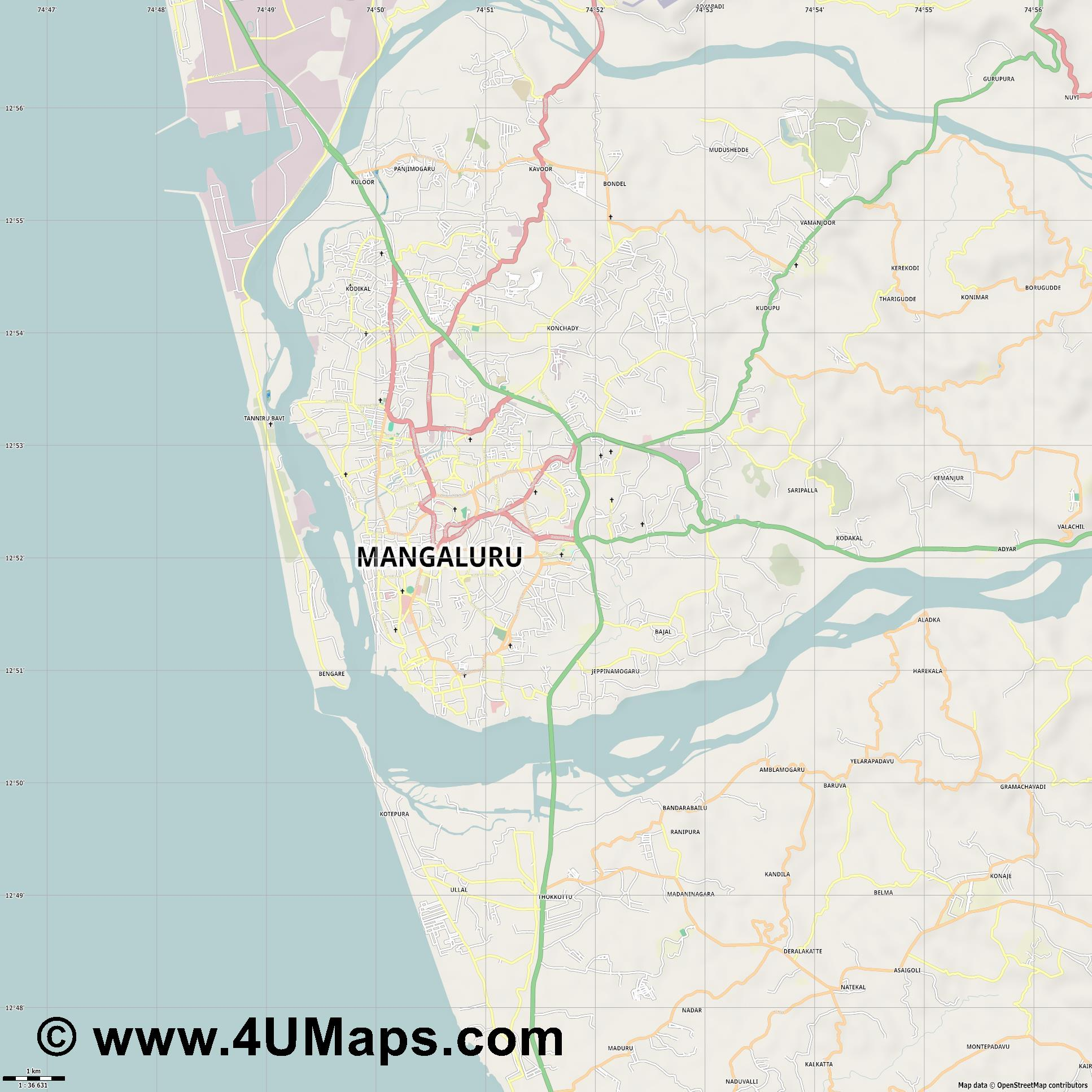 Mangalore  jpg high detail, large area preview vector city map