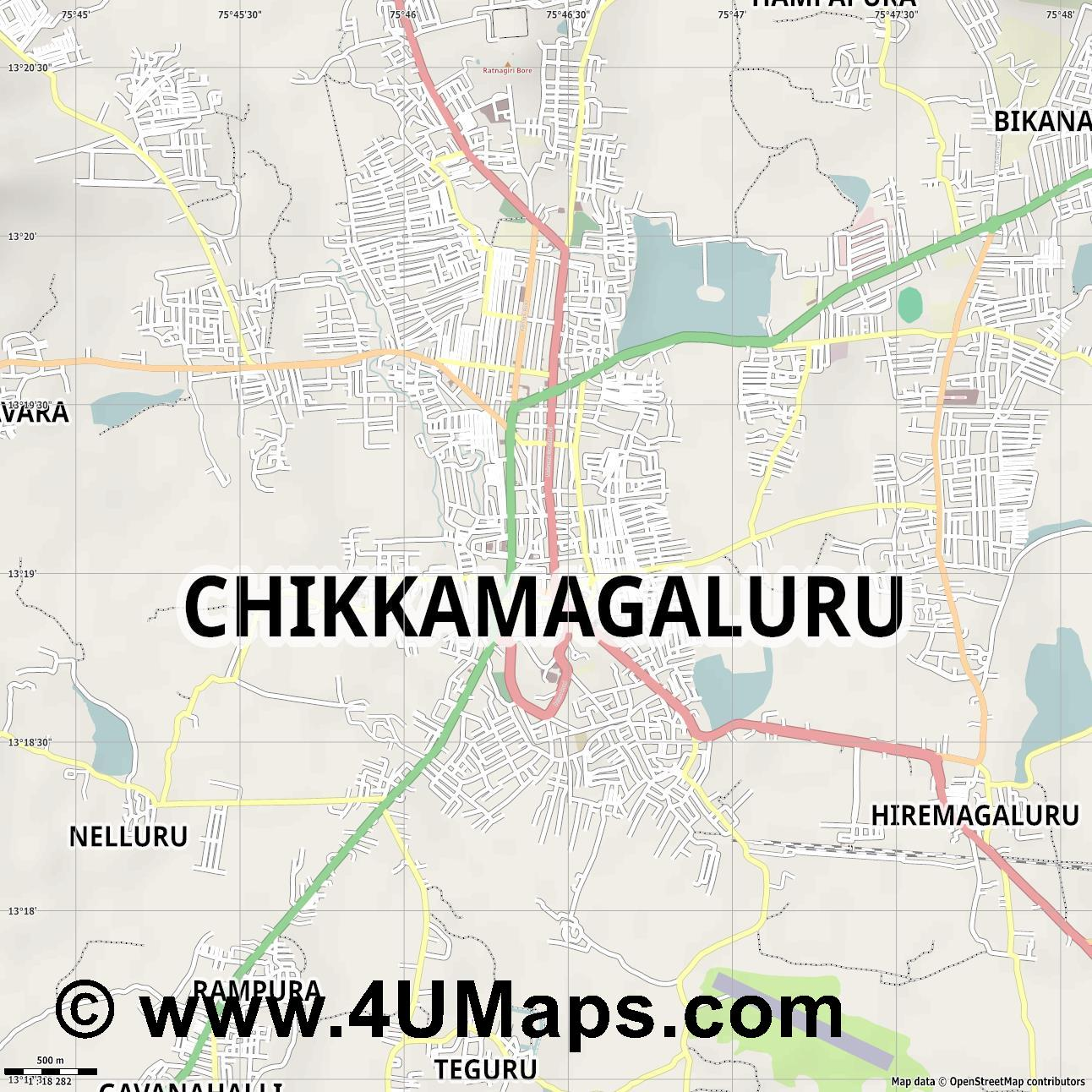 Chikmagalur  jpg ultra high detail preview vector city map