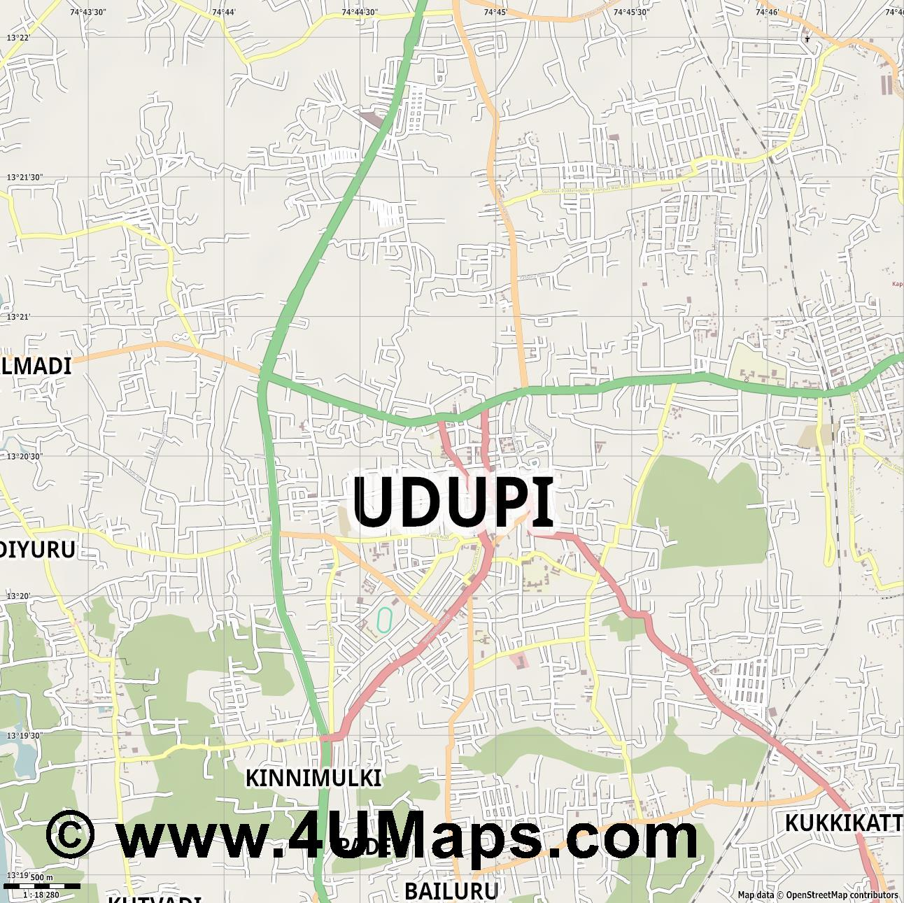 Udupi  jpg ultra high detail preview vector city map