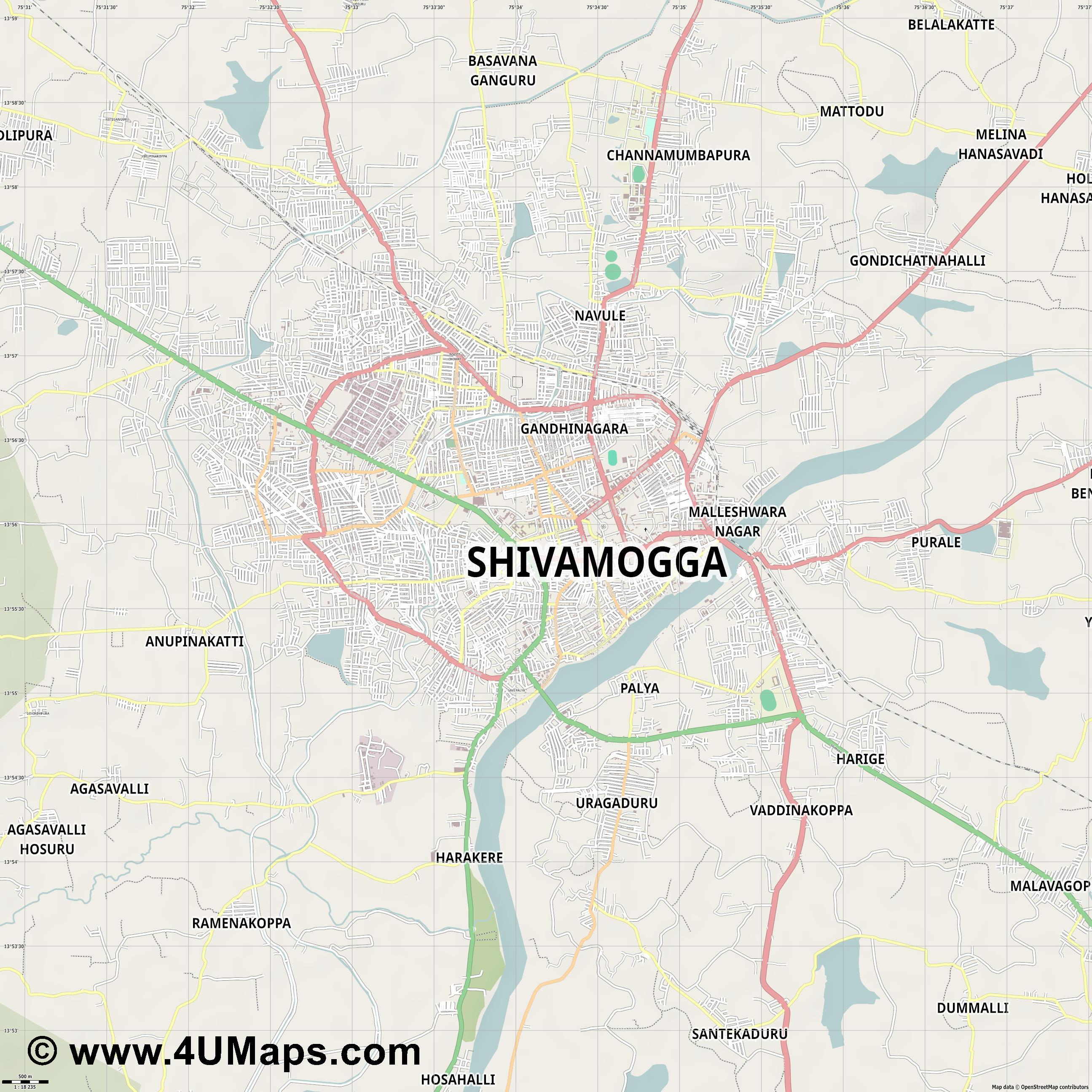 Shimoga  jpg ultra high detail preview vector city map
