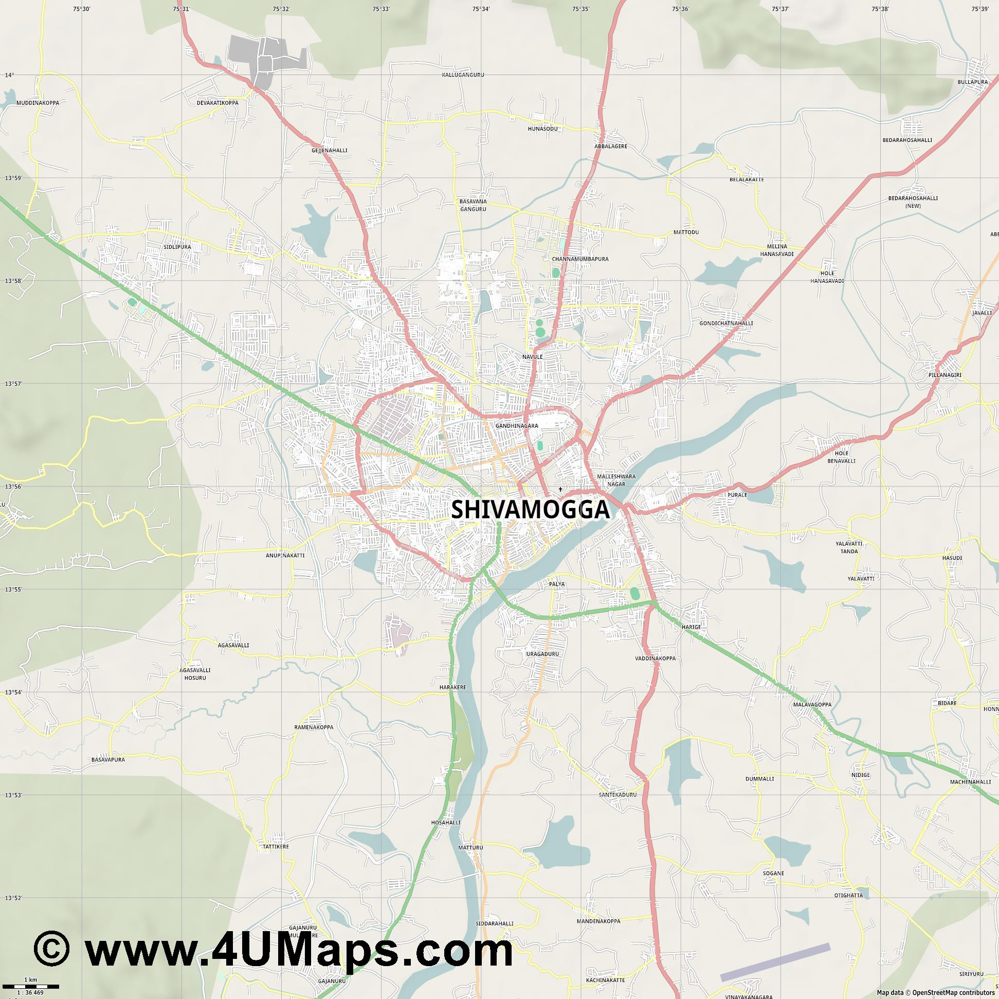 Shimoga  jpg high detail, large area preview vector city map