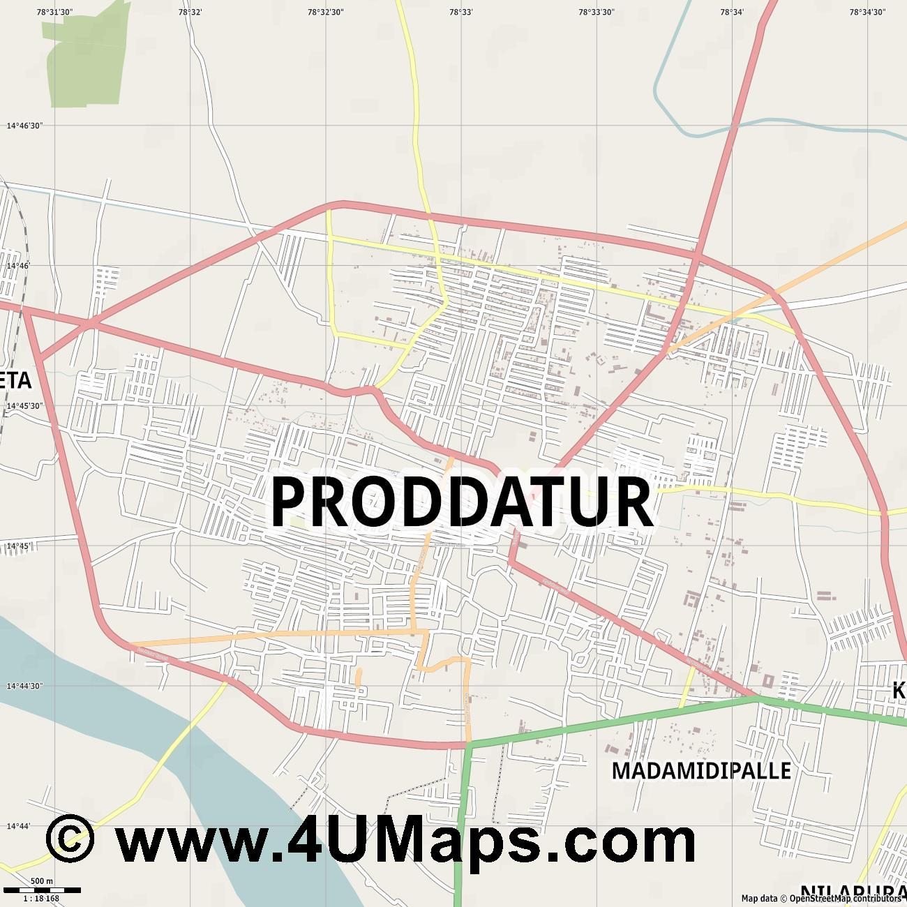 Proddatur  jpg ultra high detail preview vector city map