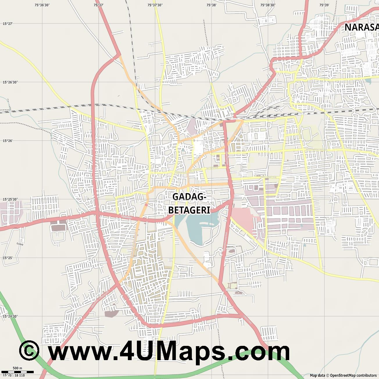Gadag  jpg ultra high detail preview vector city map