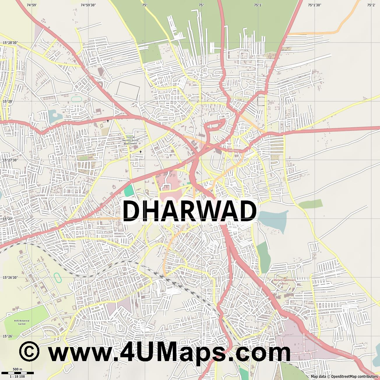 Dharwad  jpg ultra high detail preview vector city map
