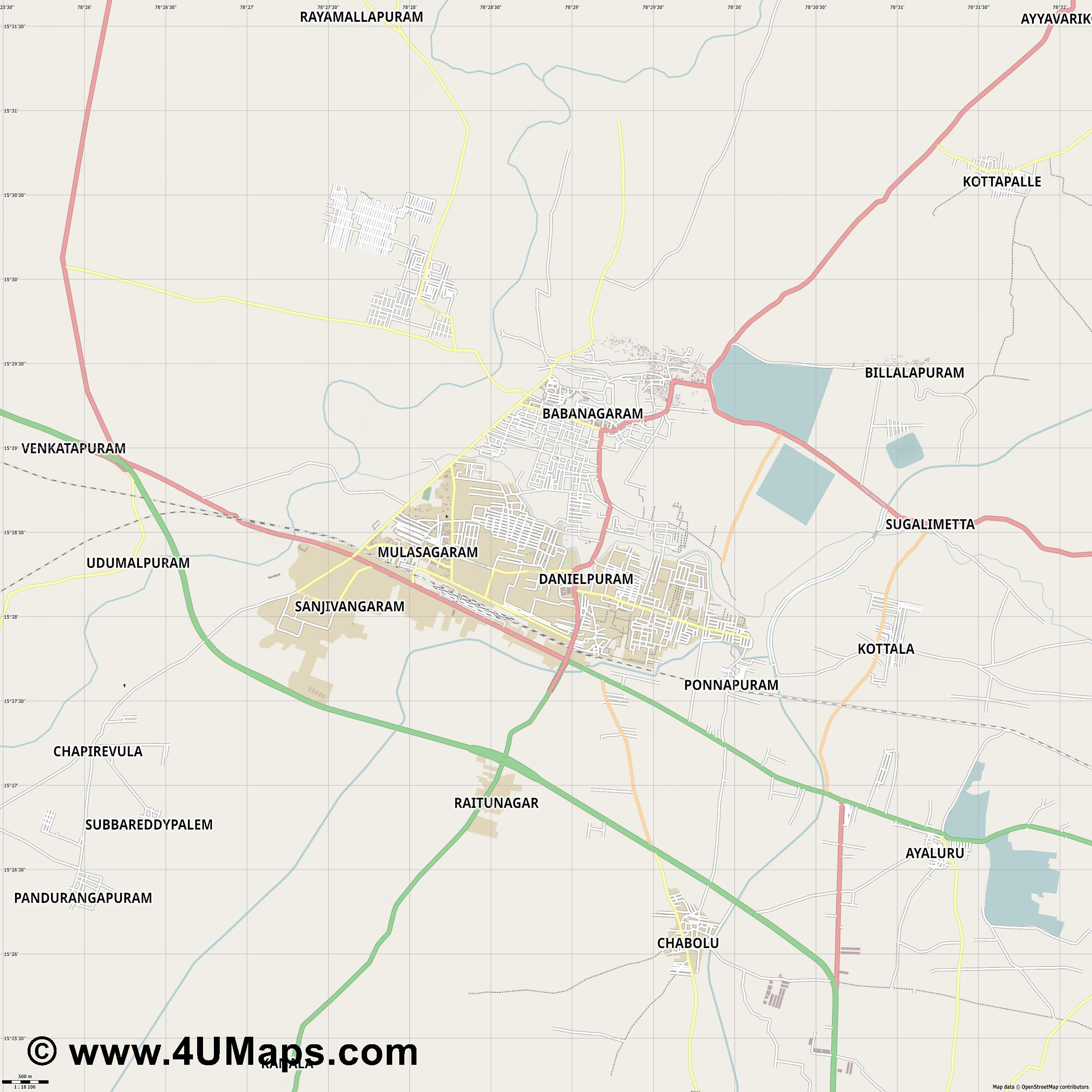 Nandyal  jpg ultra high detail preview vector city map