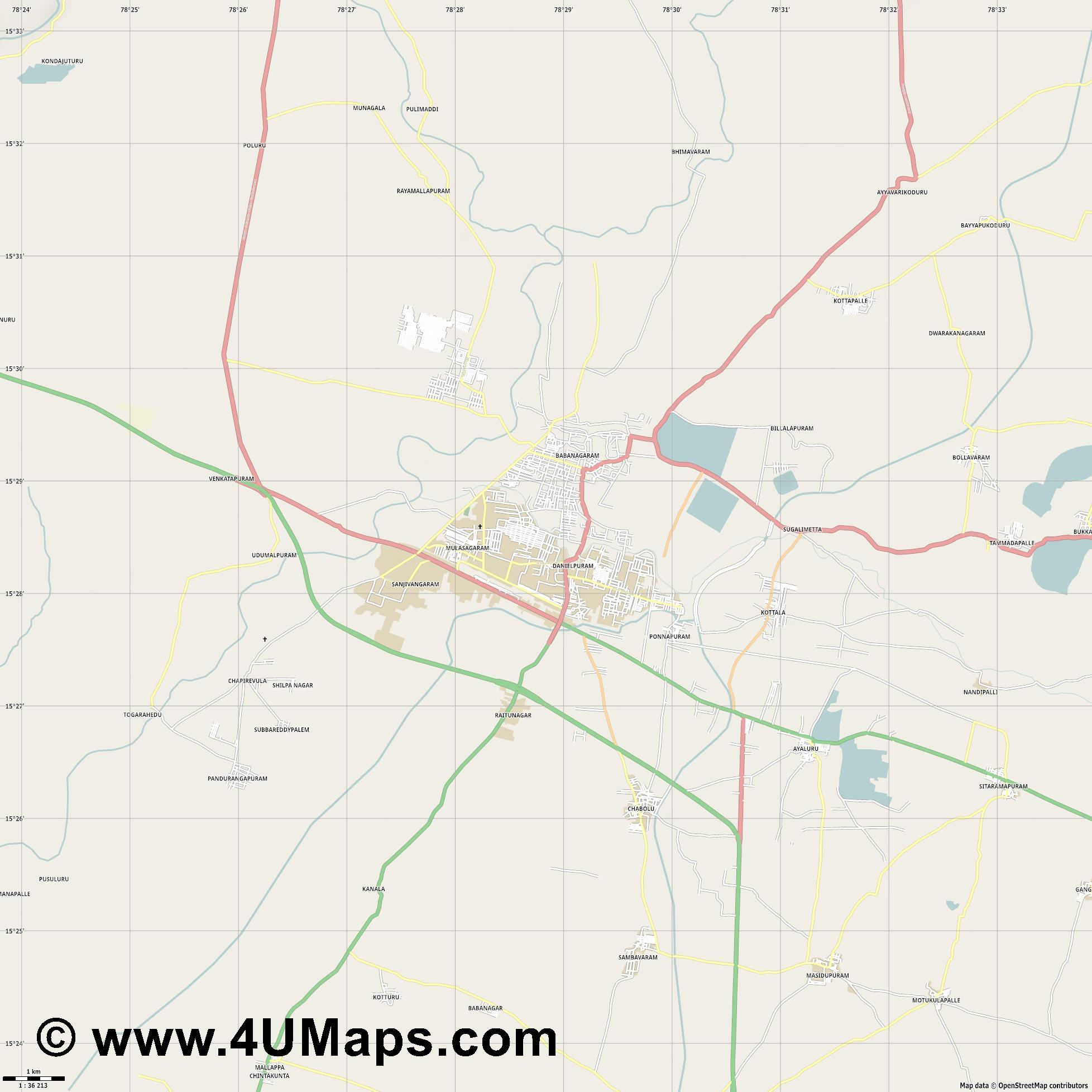 Nandyal  jpg high detail, large area preview vector city map