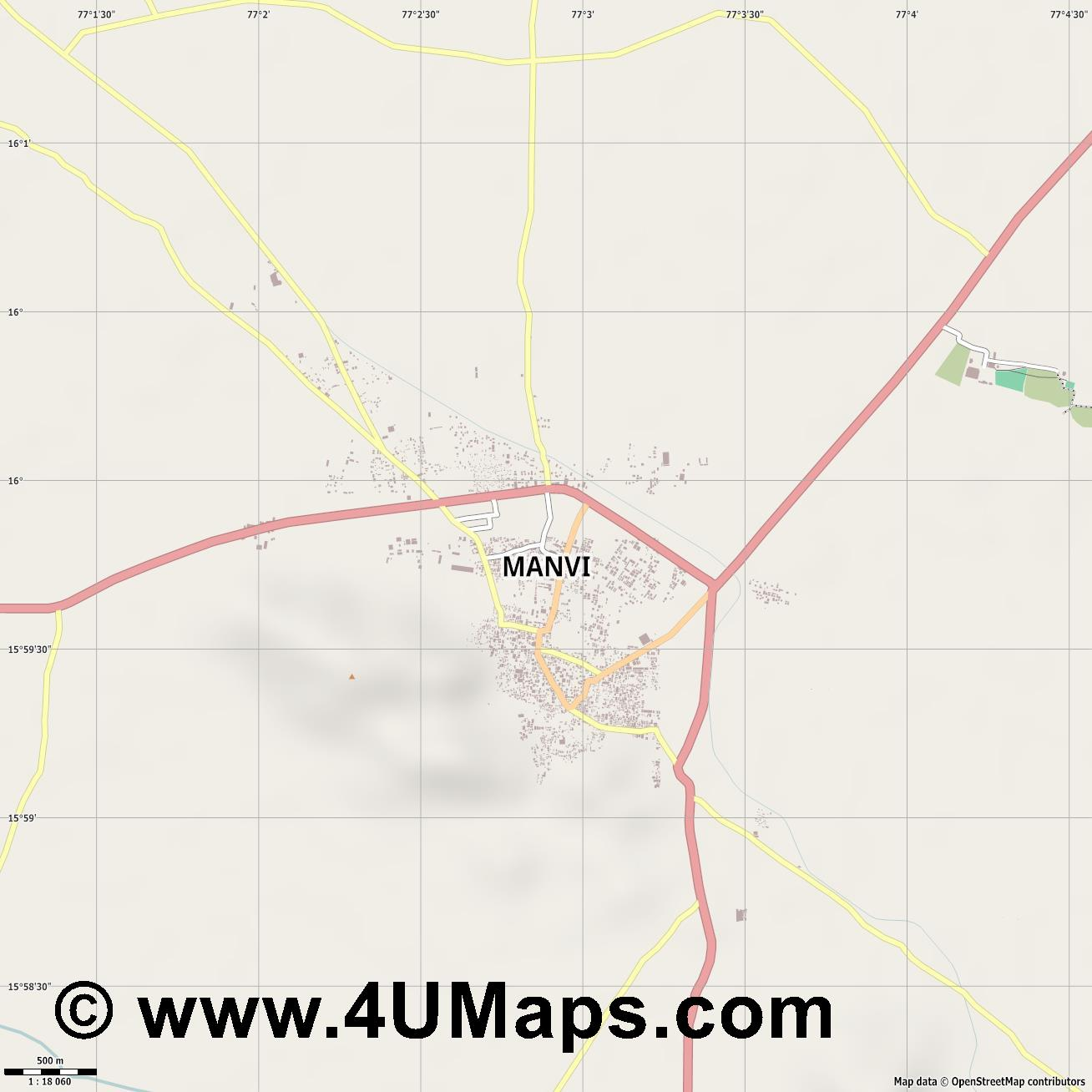 Manvi  jpg ultra high detail preview vector city map