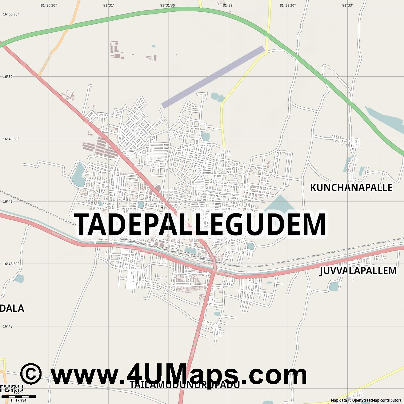 Tadepallegudem  jpg ultra high detail preview vector city map