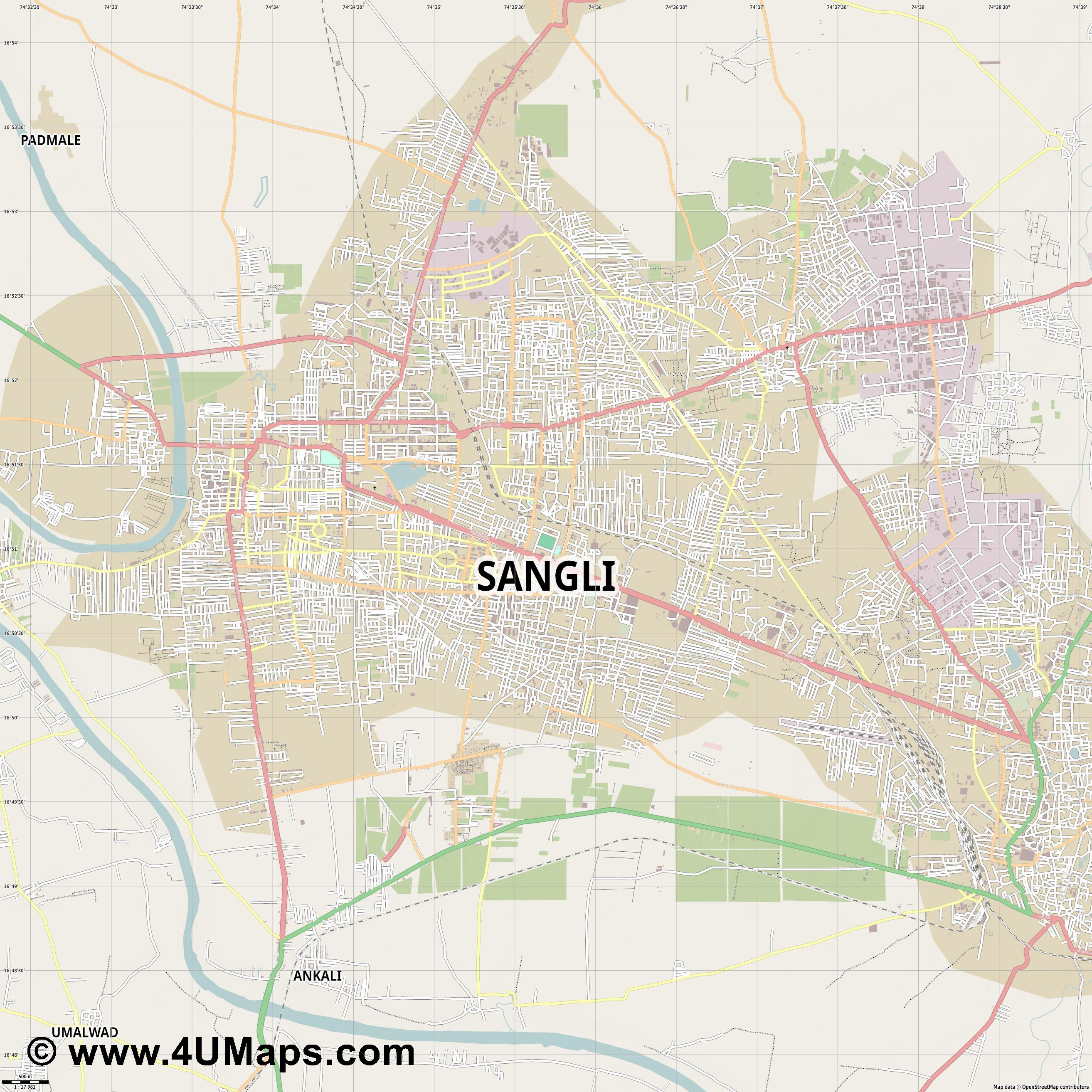 Sangli  jpg ultra high detail preview vector city map